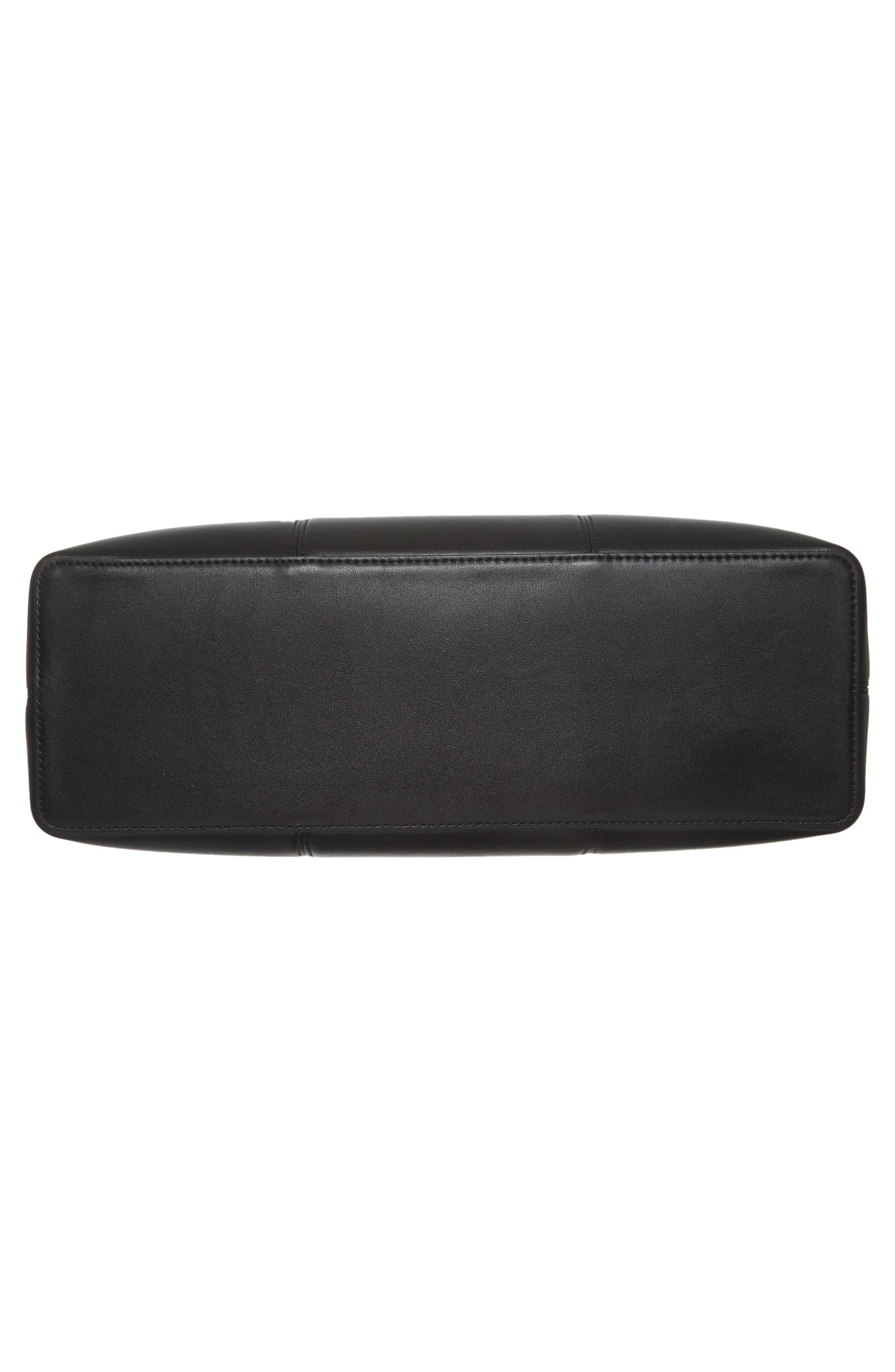 Block-T Leather Tote,                             Alternate thumbnail 5, color,                             Black/ Black