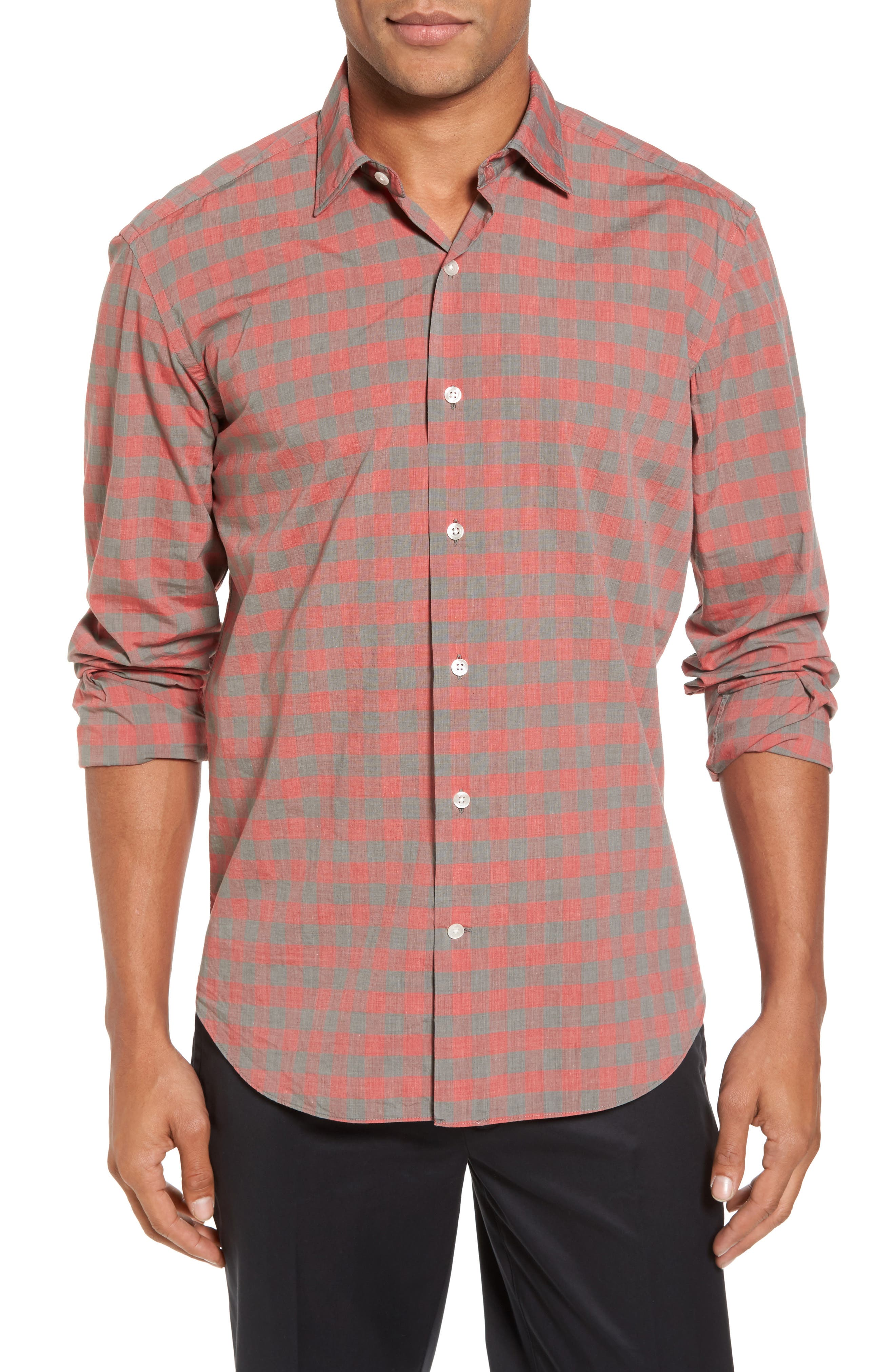 Slim Fit Check Sport Shirt,                         Main,                         color, Red