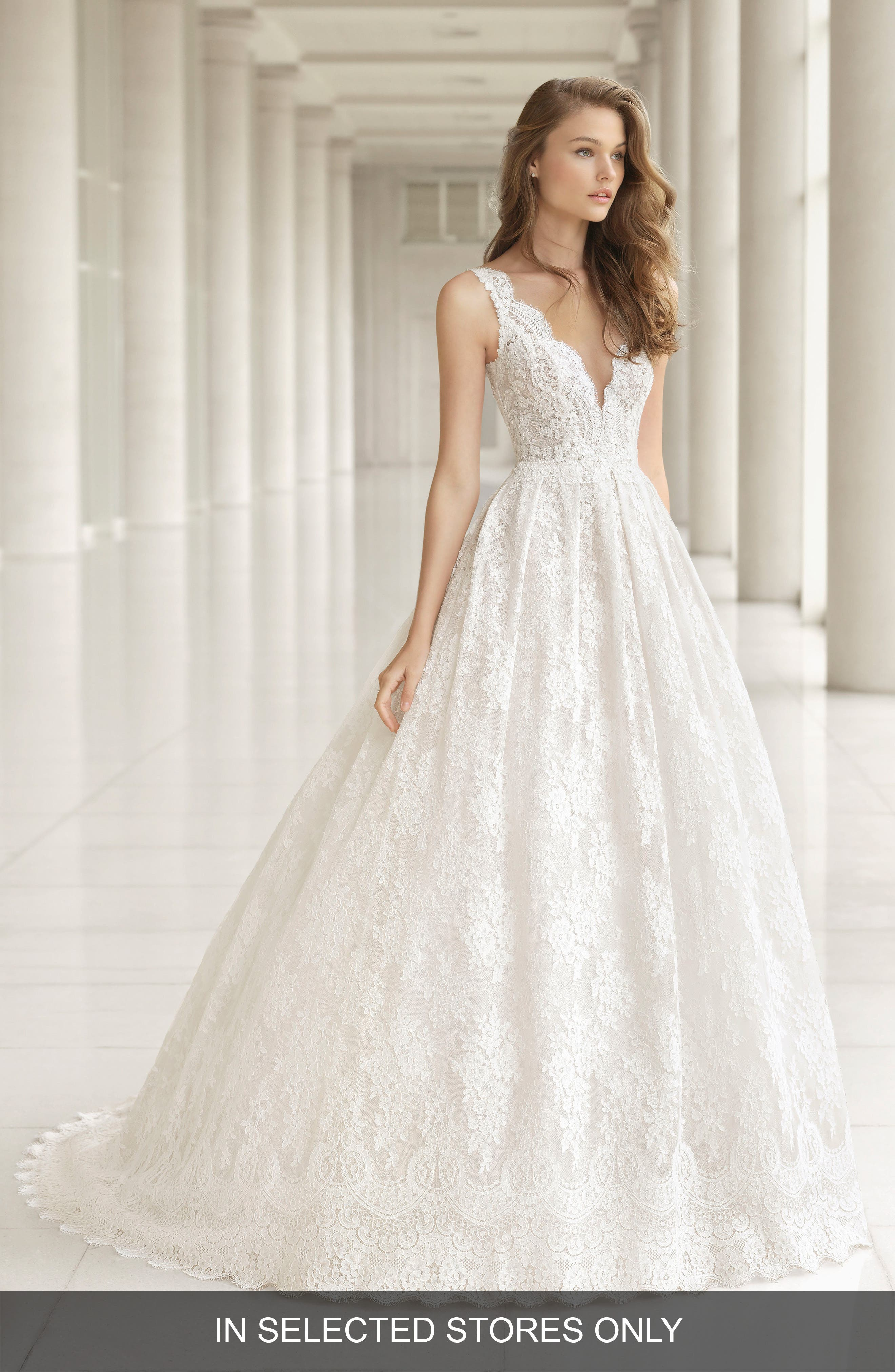 Embellished Lace Princess Gown,                         Main,                         color, Natural/Nude