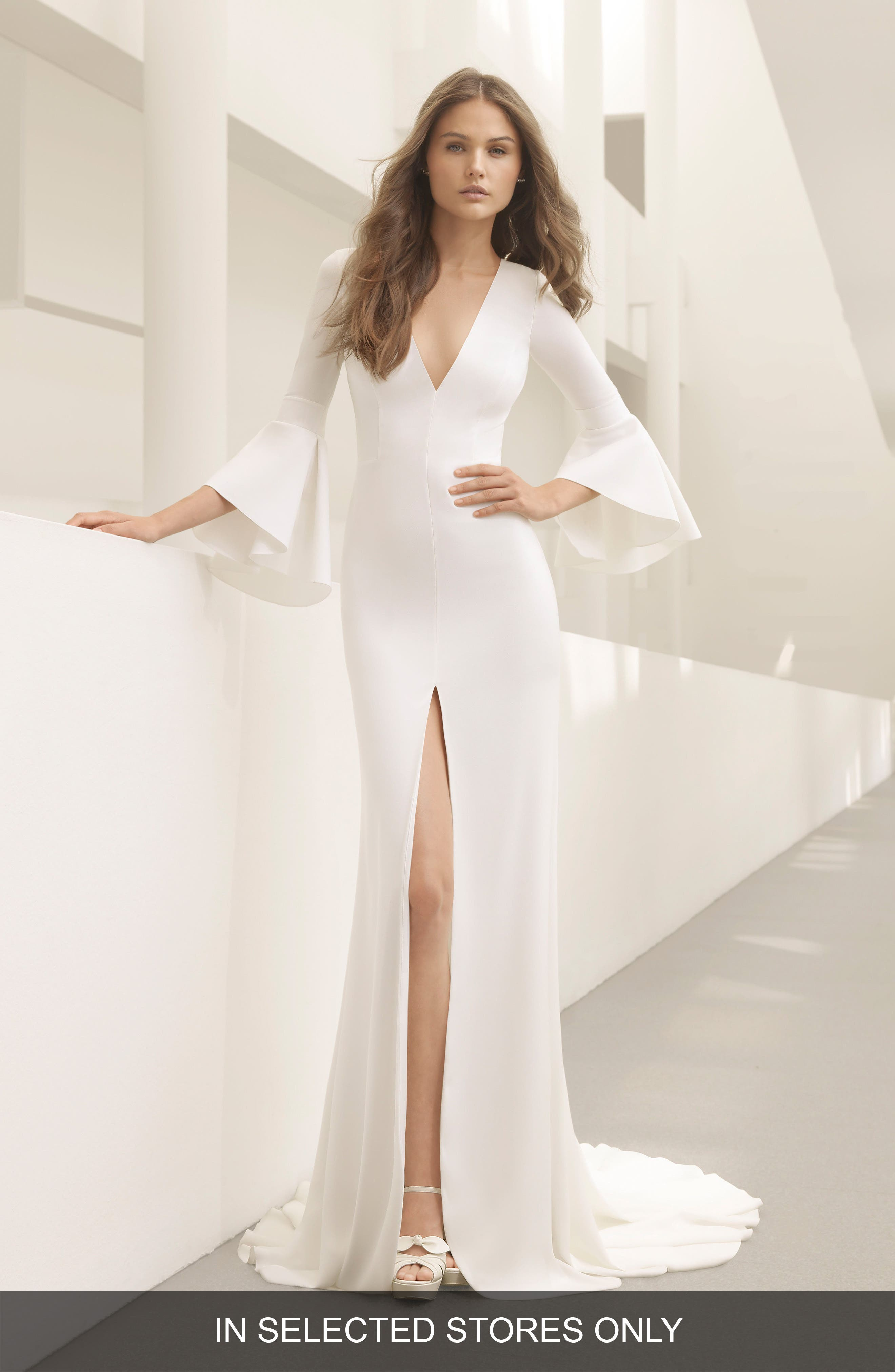 Pradera Plunge Bell Sleeve Crepe Gown,                             Main thumbnail 1, color,                             Natural