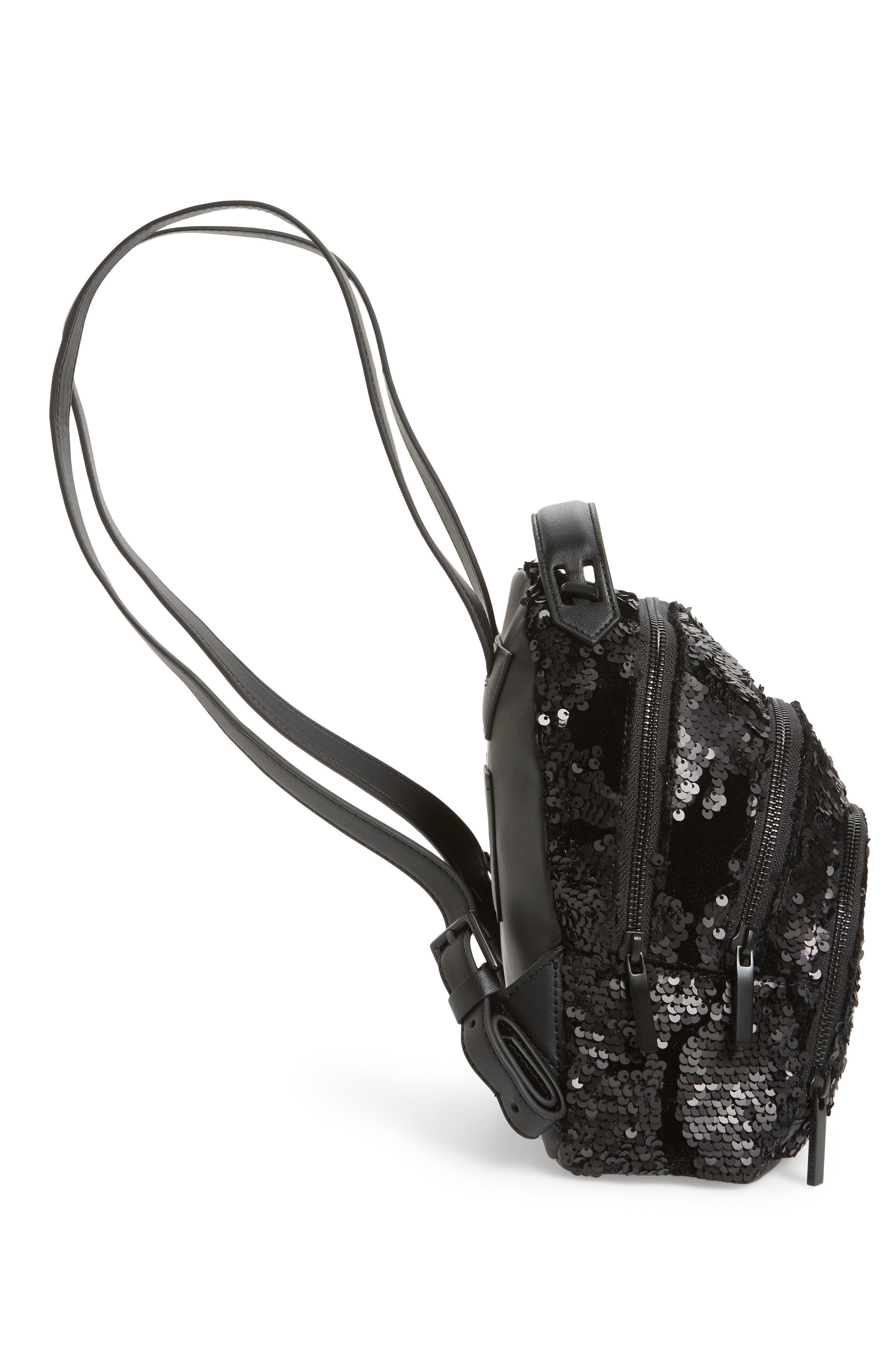 Mini Sloane Velvet & Sequin Backpack,                             Alternate thumbnail 5, color,                             Black Sequins