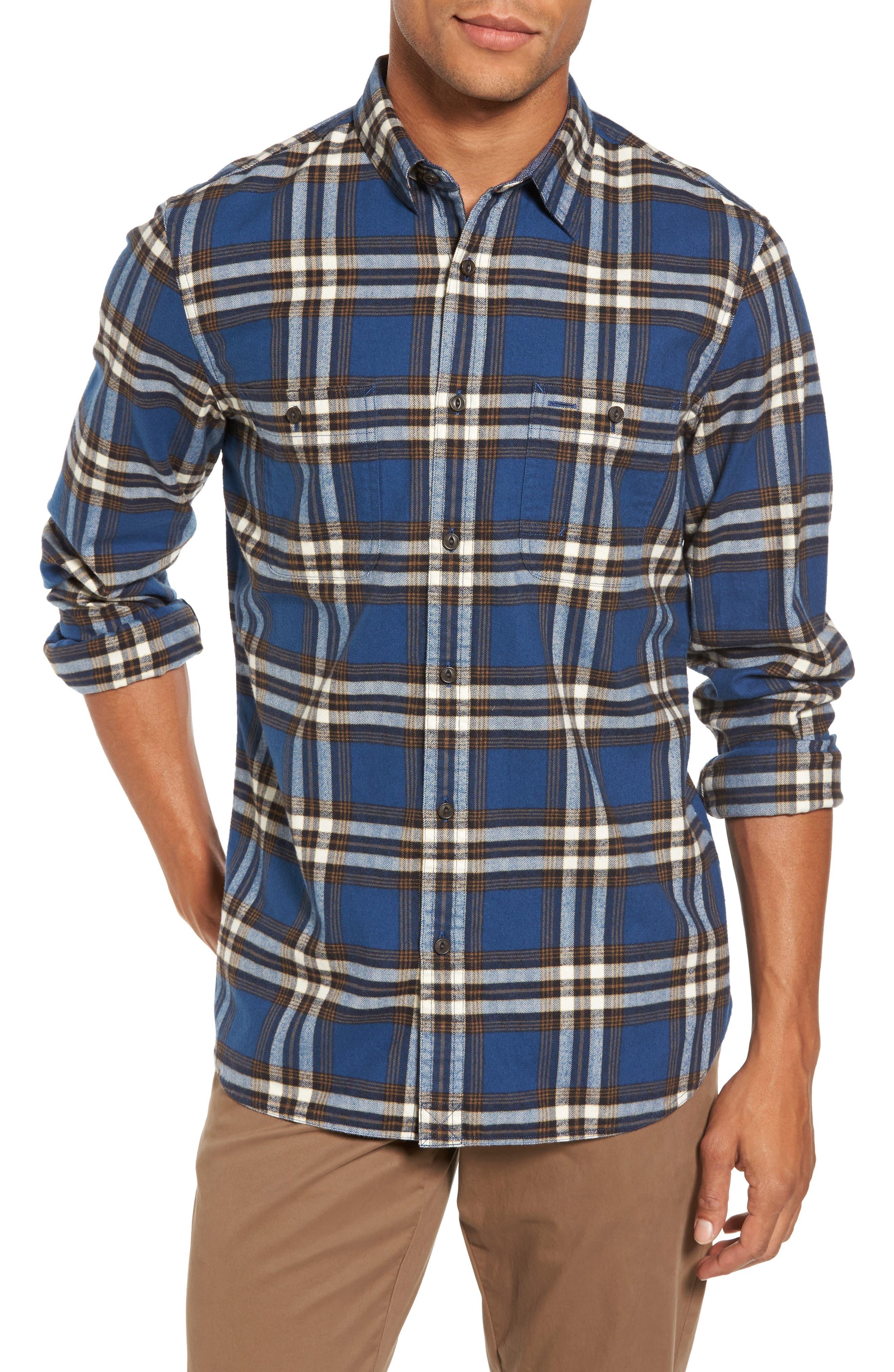 Trim Fit Workwear Check Flannel Shirt,                             Main thumbnail 1, color,                             Blue Vintage Brown Plaid