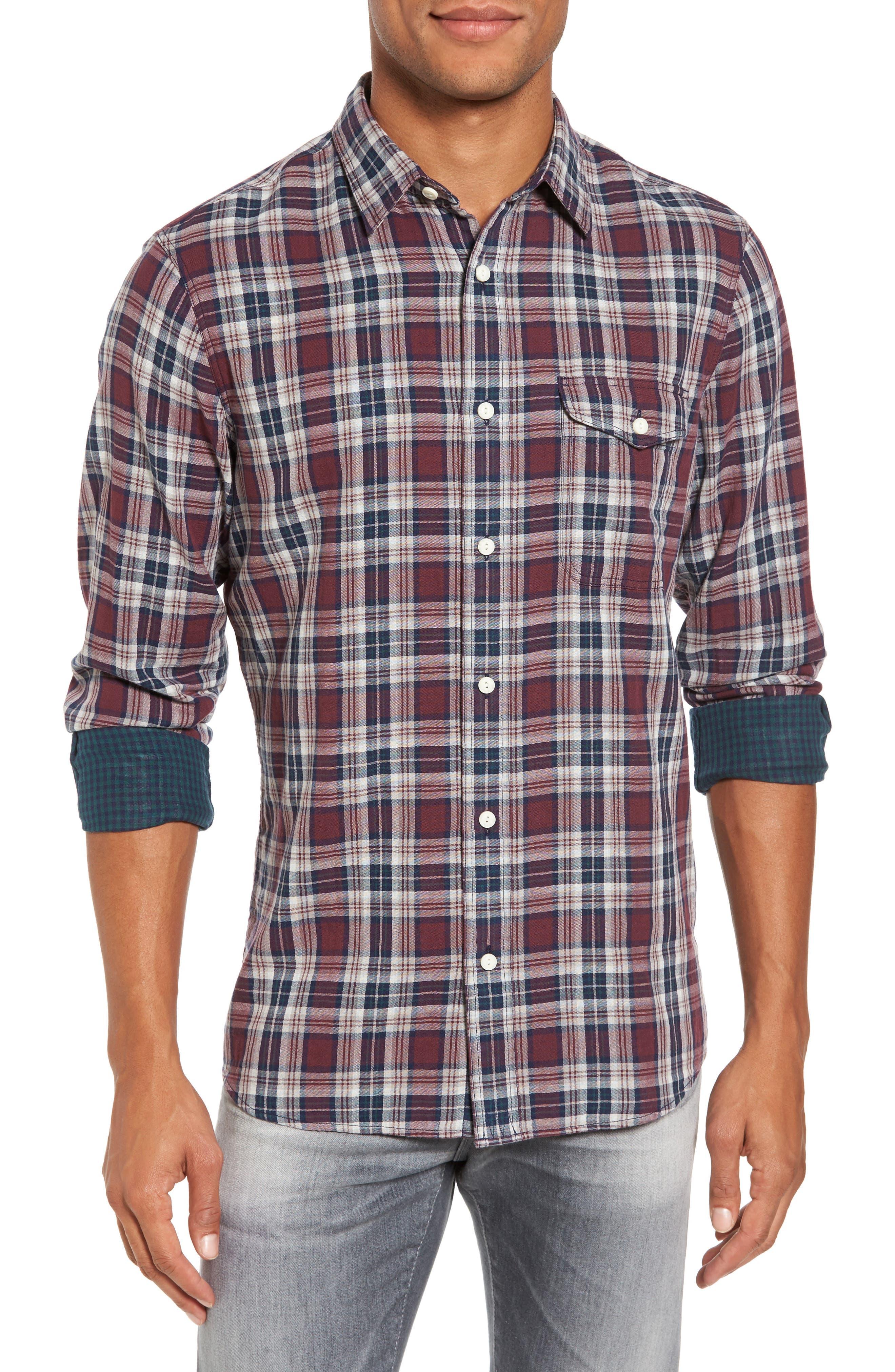 Lumber Duofold Slim Fit Plaid Shirt,                         Main,                         color, Burgundy Royale Tartan Duofold