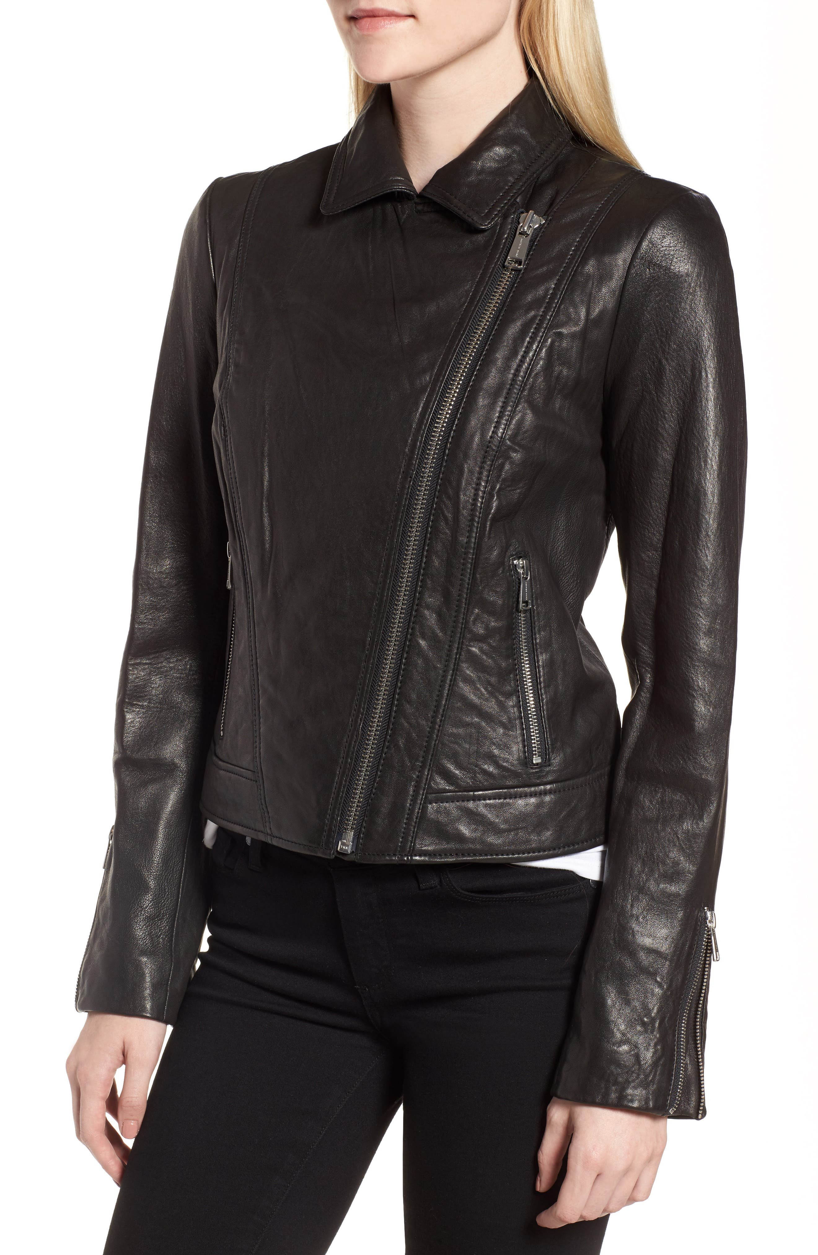 Leather Jacket,                             Alternate thumbnail 4, color,                             Black