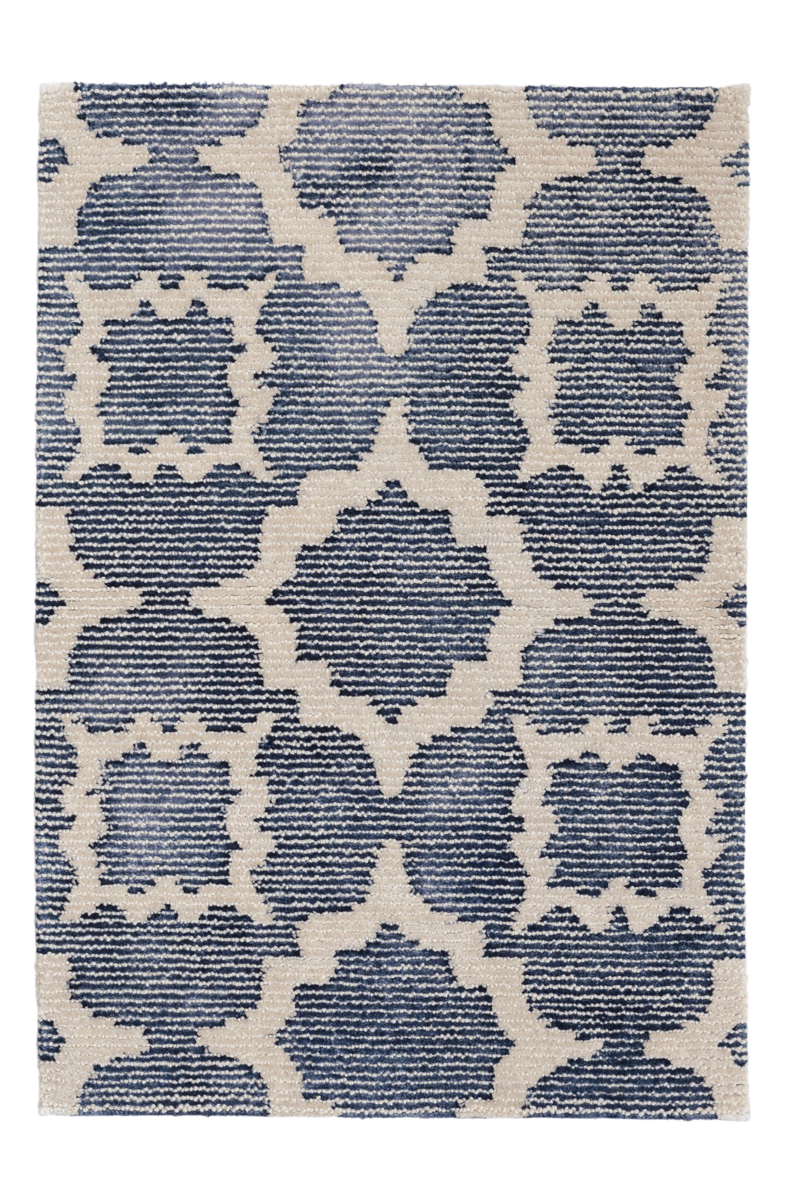 China Hand Knotted Wool Blend Rug,                             Main thumbnail 1, color,                             Blue
