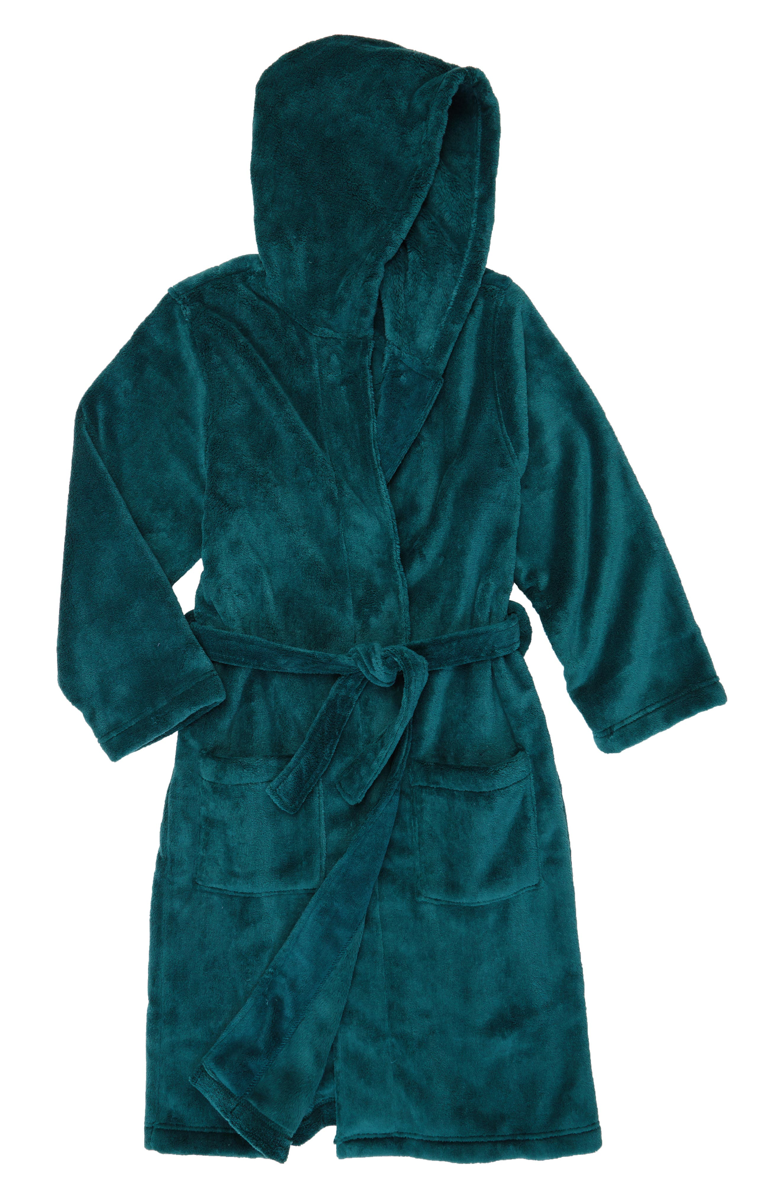 Plush Hooded Robe,                         Main,                         color, Green Bug