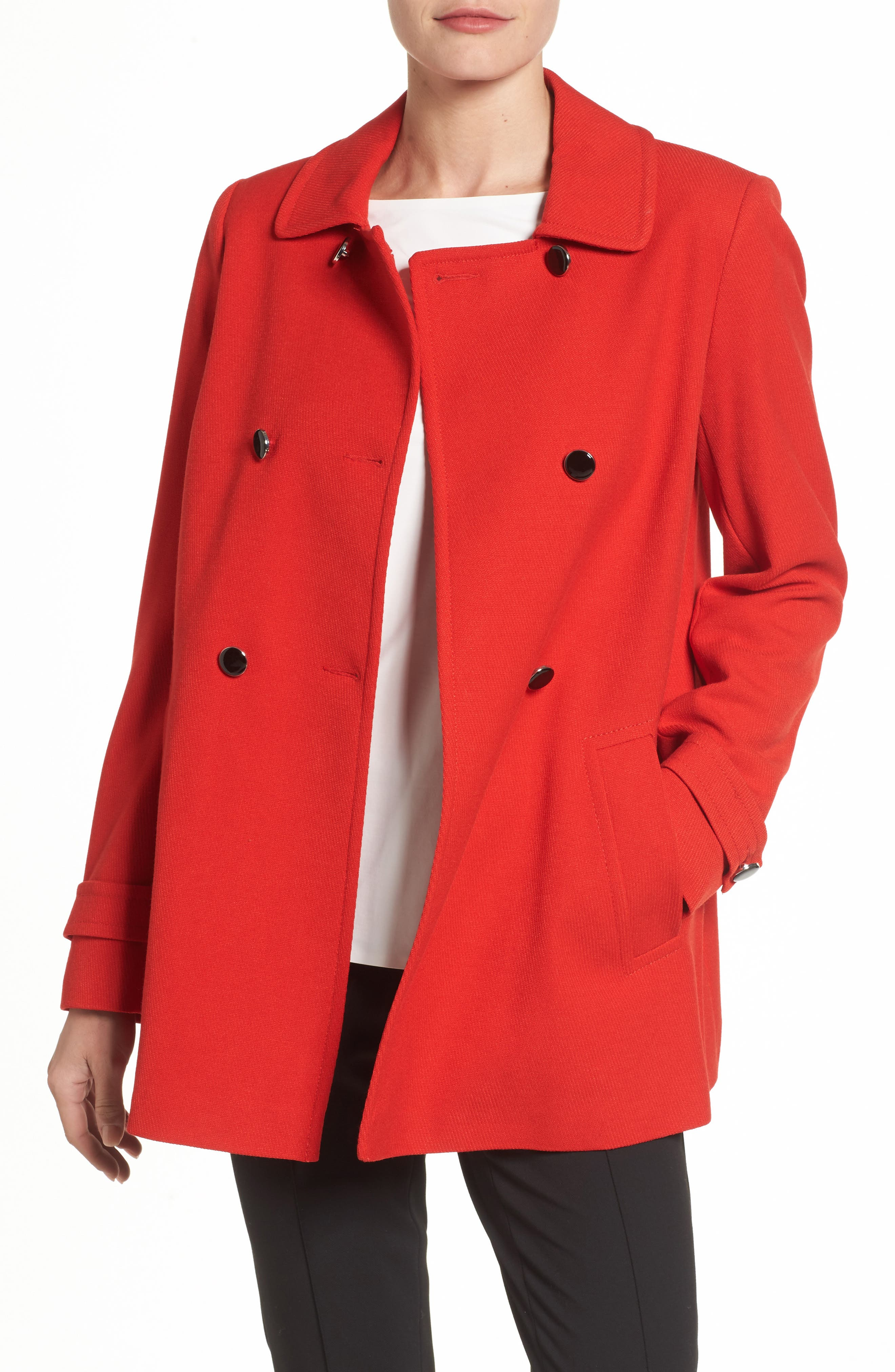 Double Breasted Swing Coat,                         Main,                         color, Red