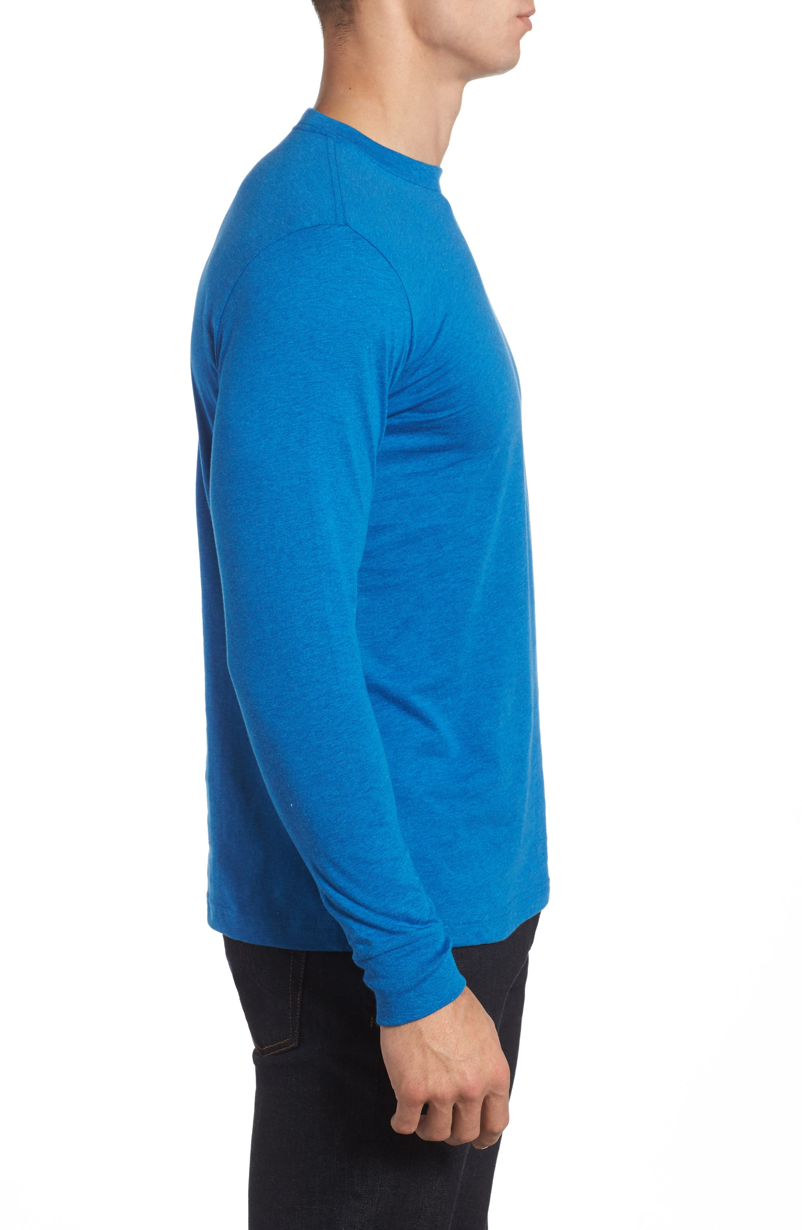 Long Sleeve T-Shirt,                             Alternate thumbnail 3, color,                             Heather Cobalt