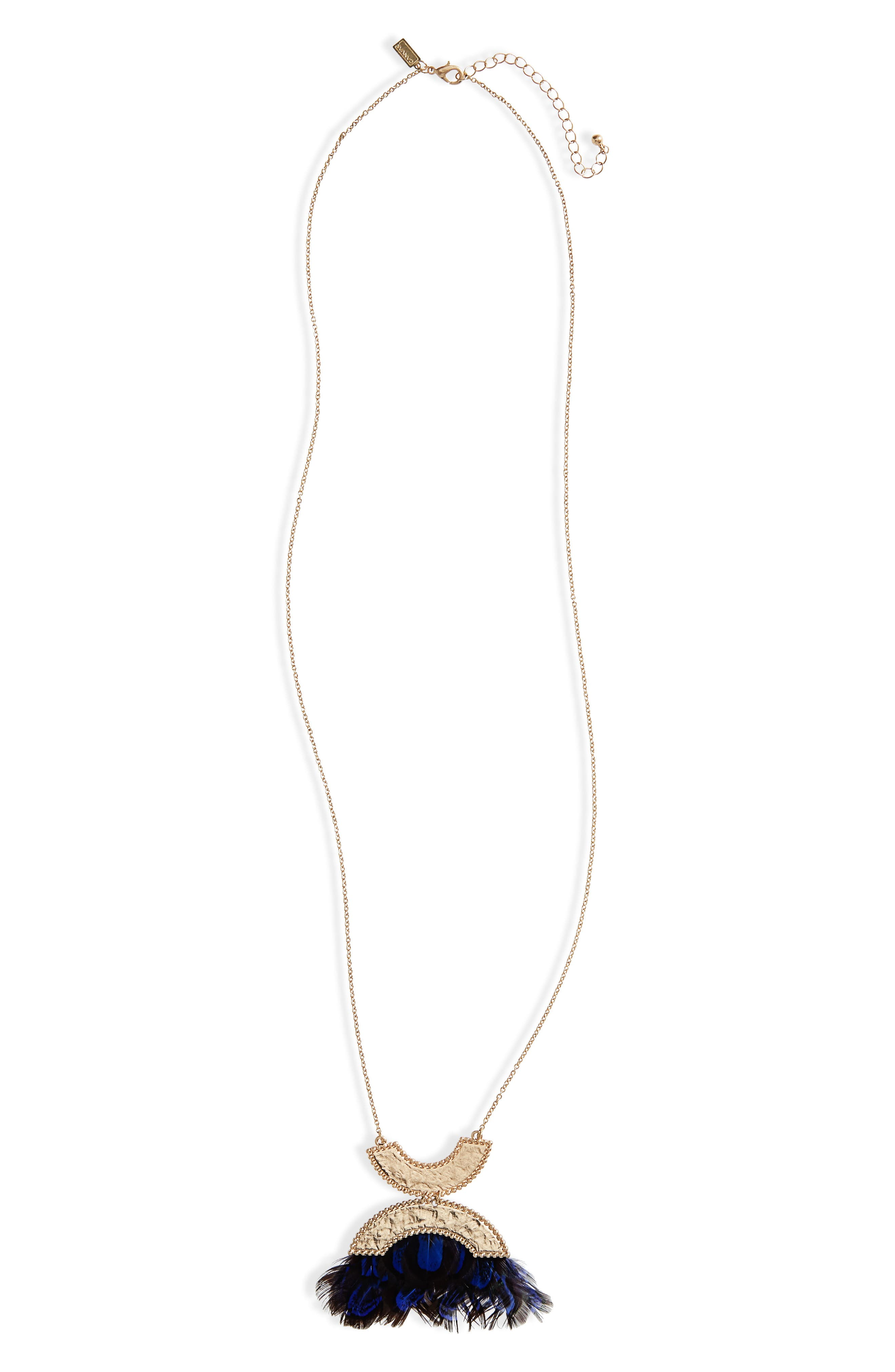 Alternate Image 1 Selected - Canvas Jewelry Double Crescent Pendant Necklace