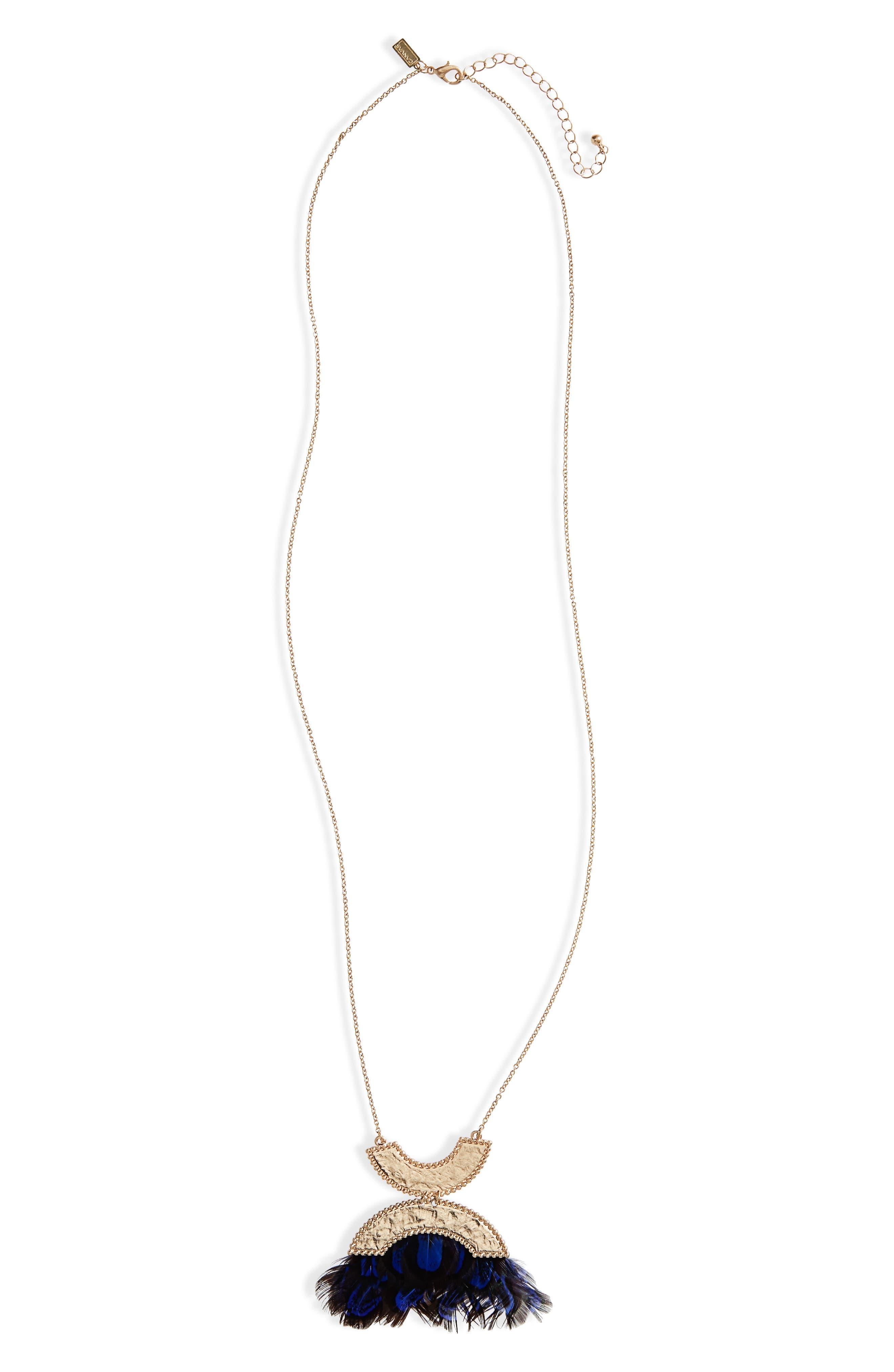Double Crescent Pendant Necklace,                         Main,                         color, Royal Blue