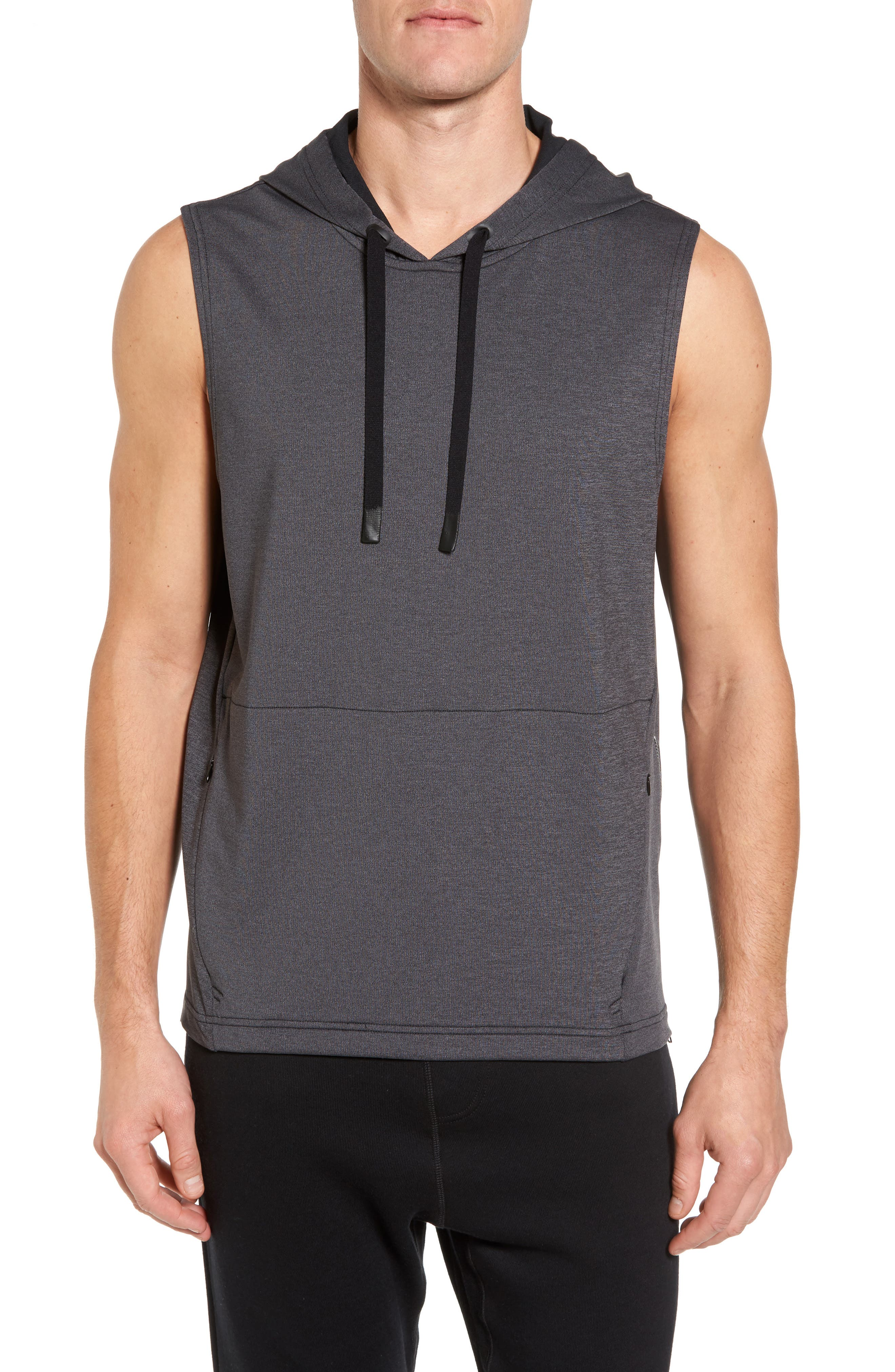 Downward Relaxed Sleeveless Hoodie,                         Main,                         color, Black Marl