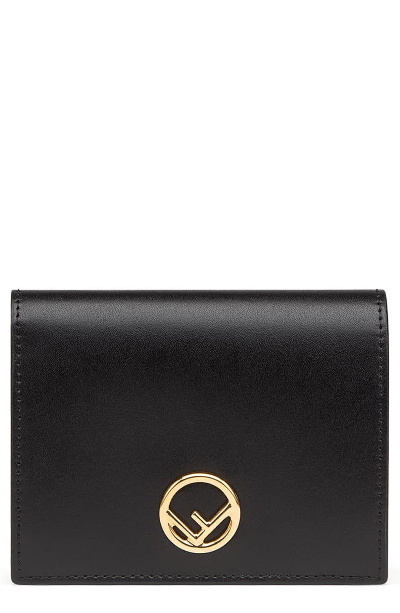 Logo Small Leather French Wallet,                         Main,                         color, Nero/ Oro Soft