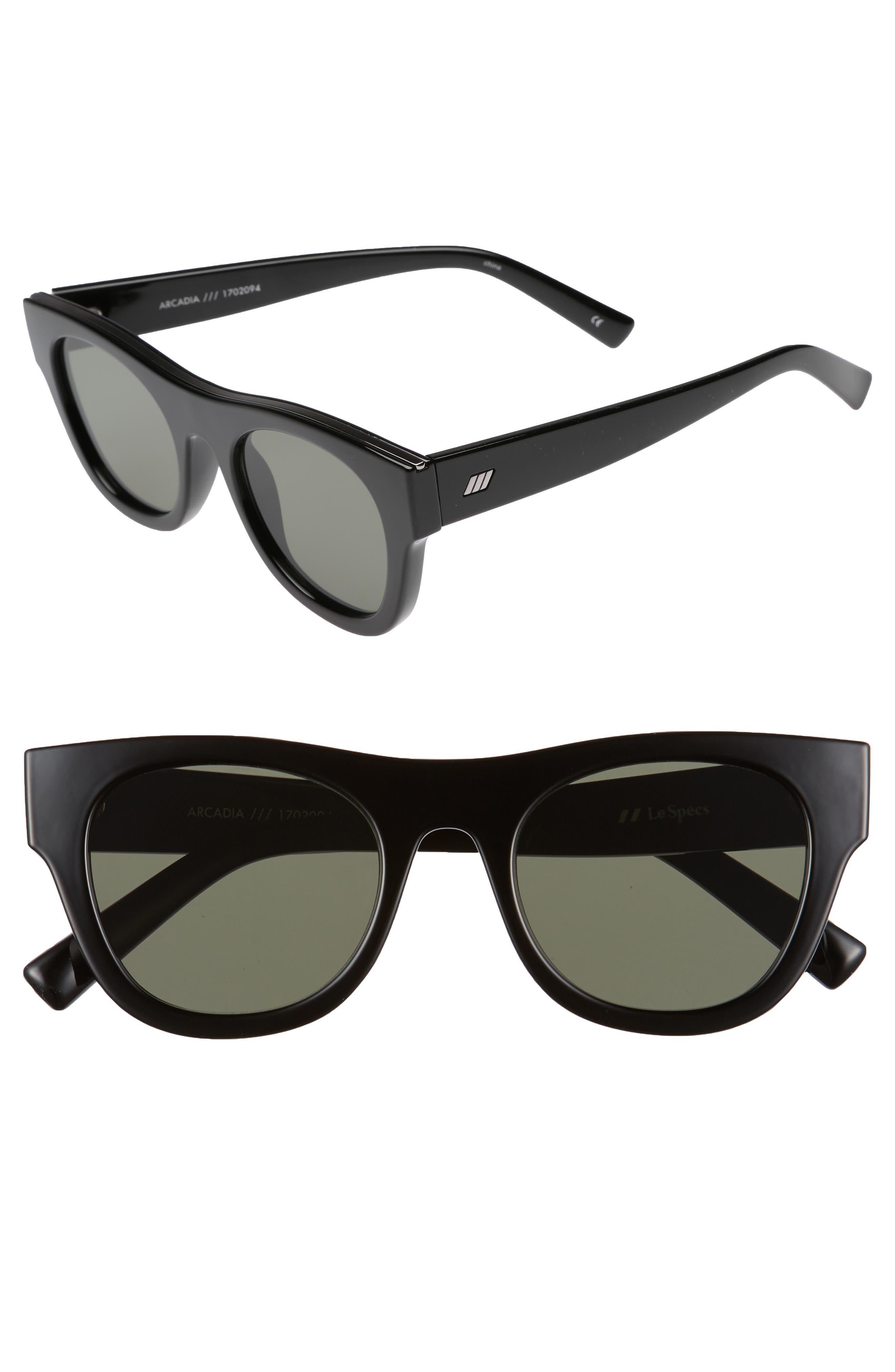 Arcadia 49mm Sunglasses,                             Main thumbnail 1, color,                             Black