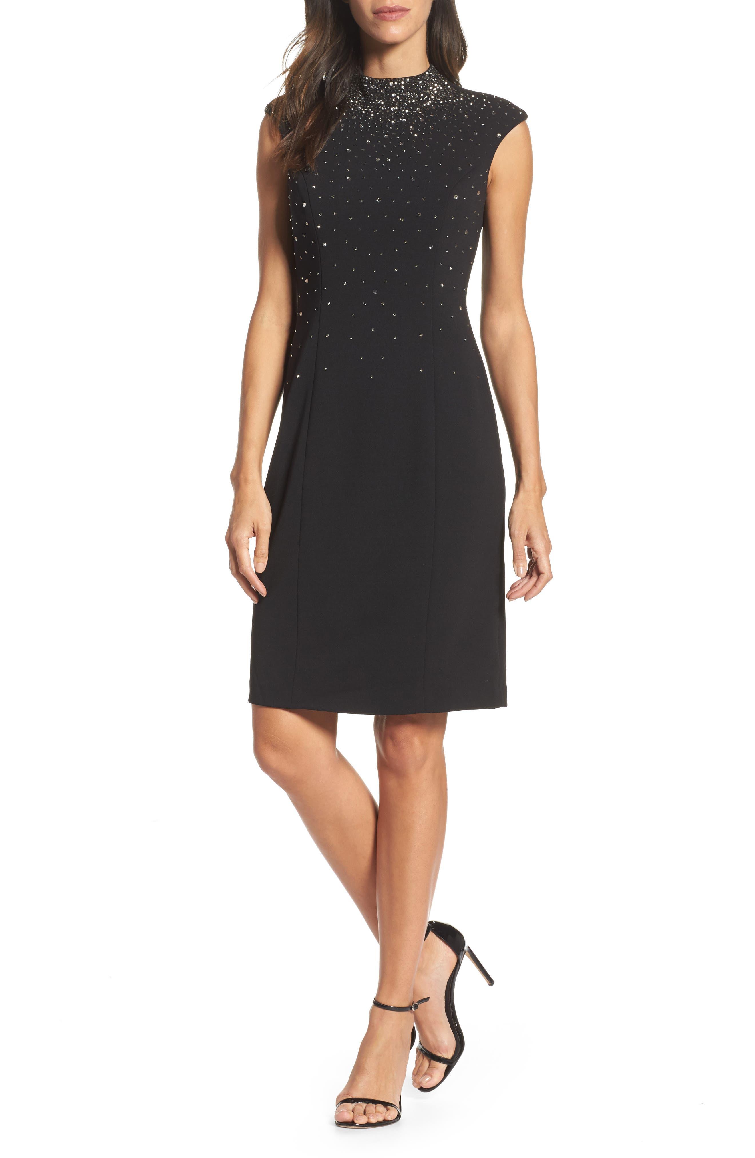 Embellished Sheath Dress,                         Main,                         color, Black/ Blue