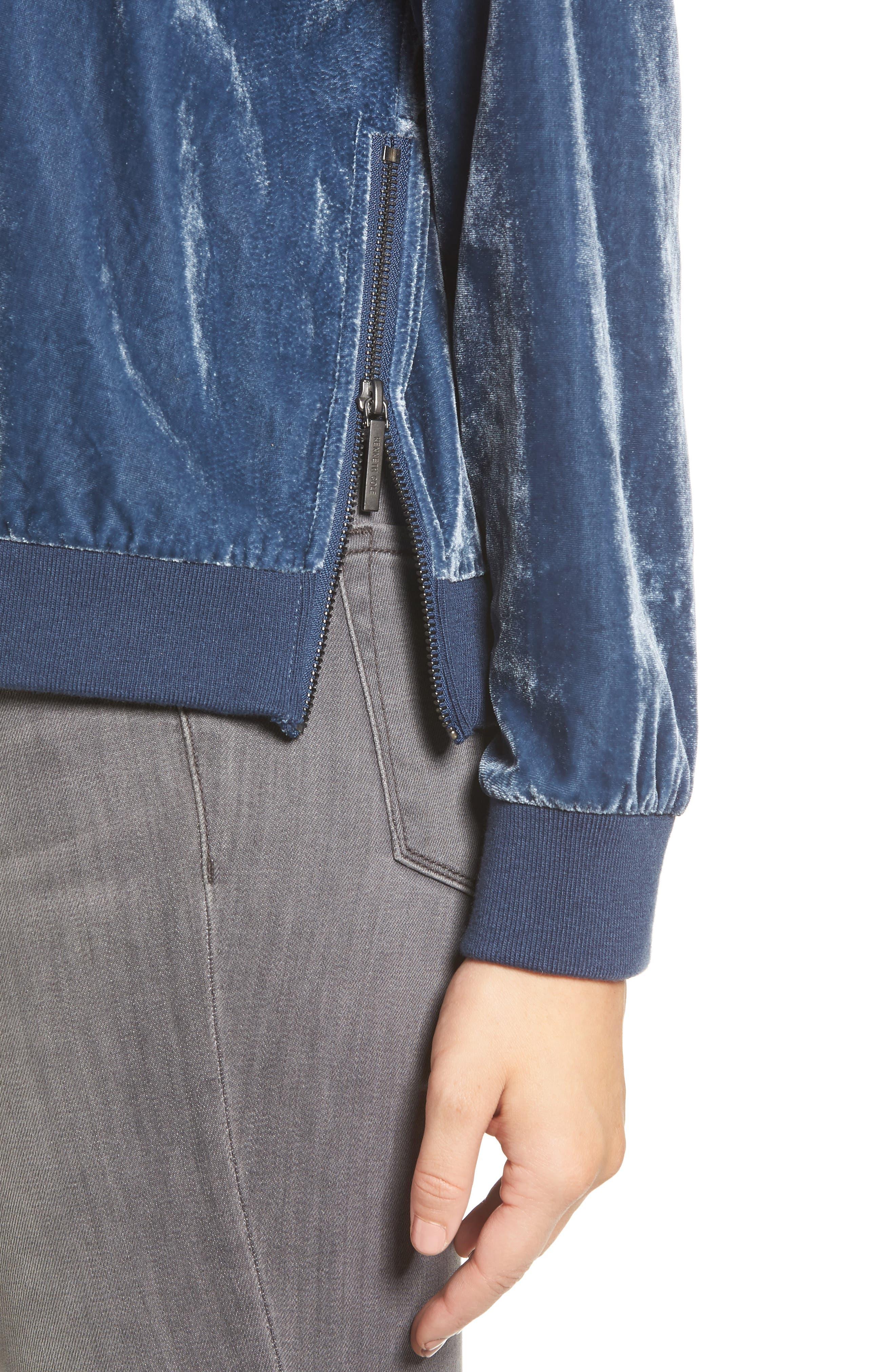 Zipper Velvet Sweatshirt,                             Alternate thumbnail 4, color,                             Splatter Blue