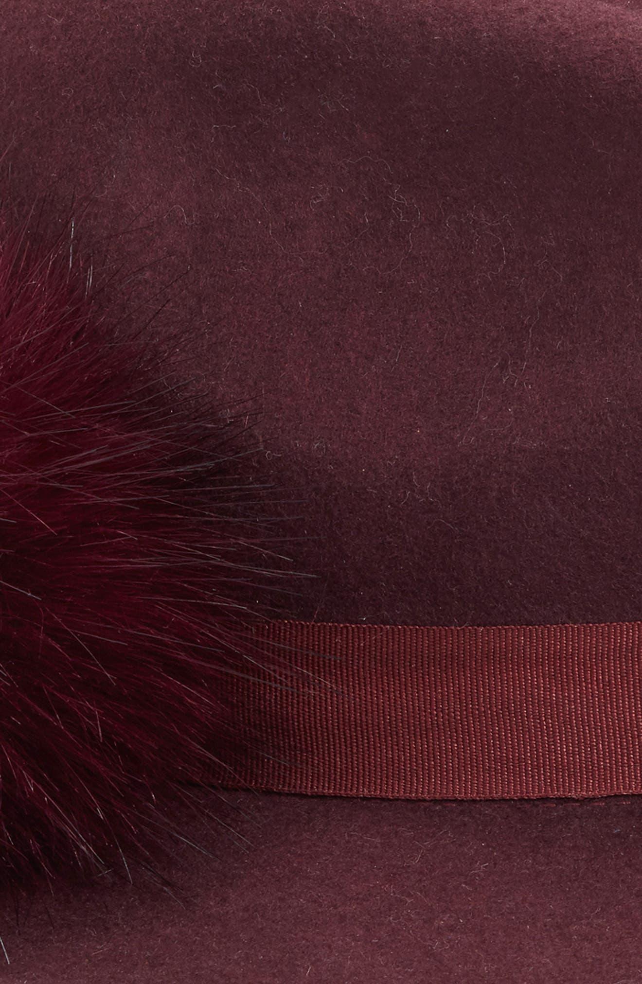Faux Fur Pompom Fedora,                             Alternate thumbnail 2, color,                             Burgundy