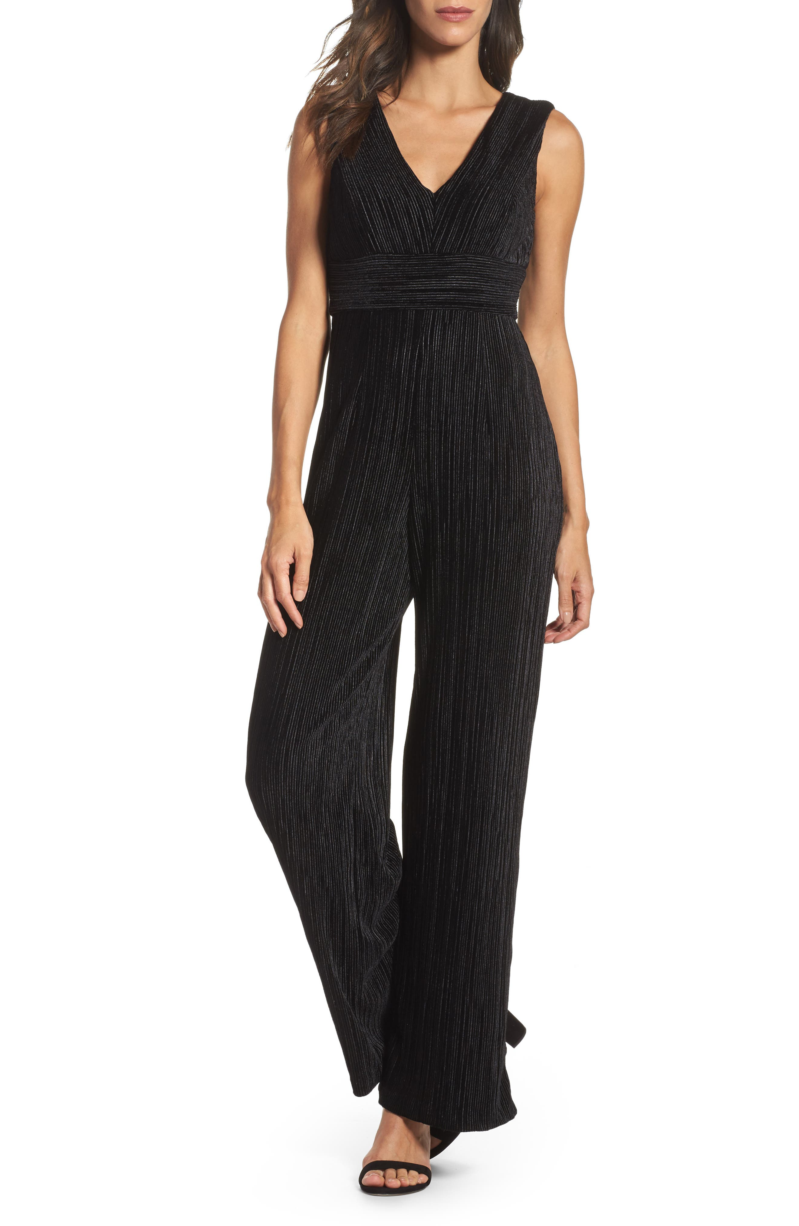 Pleated Jumpsuit,                         Main,                         color, Black
