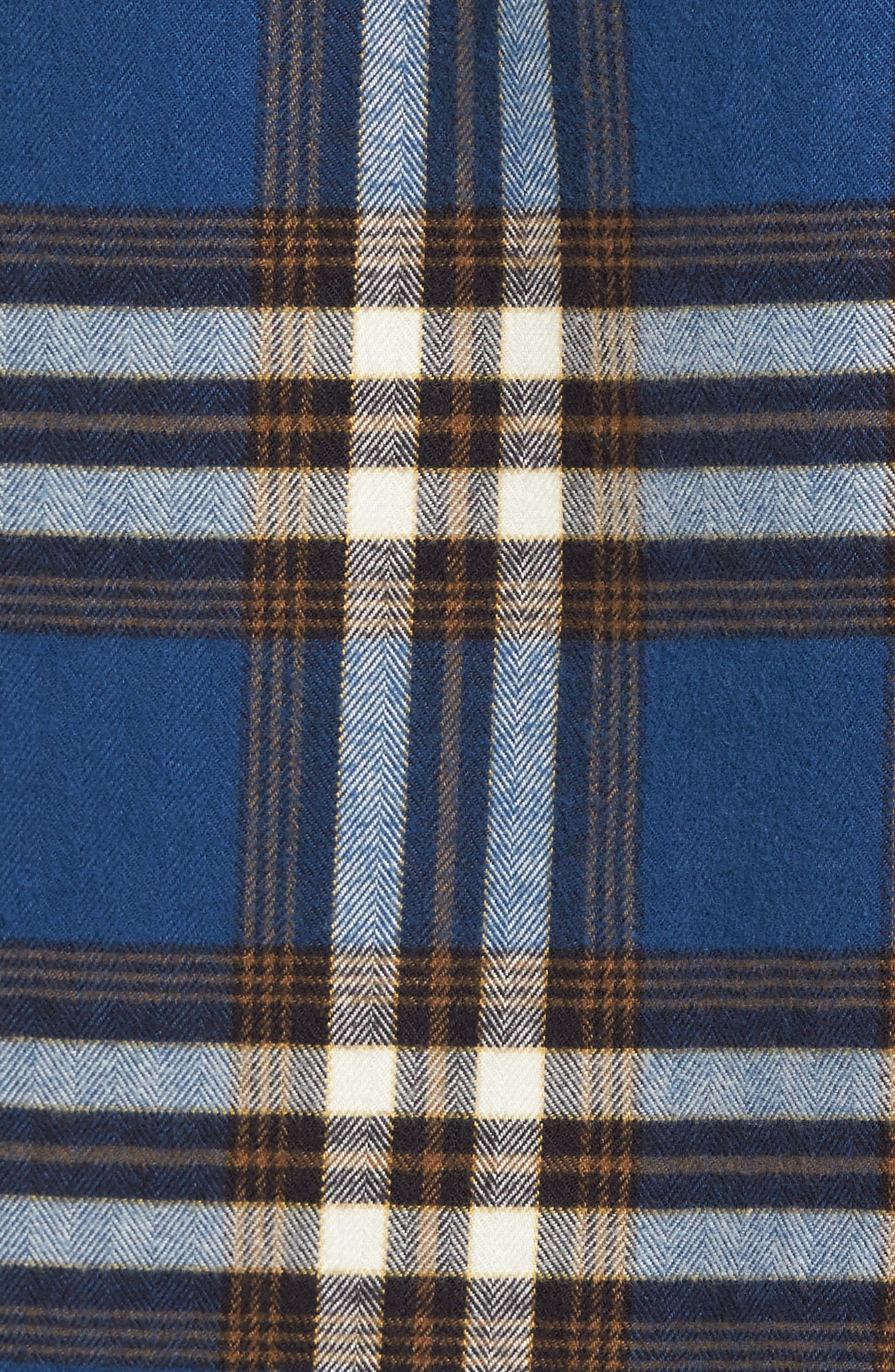 Trim Fit Workwear Check Flannel Shirt,                             Alternate thumbnail 5, color,                             Blue Vintage Brown Plaid