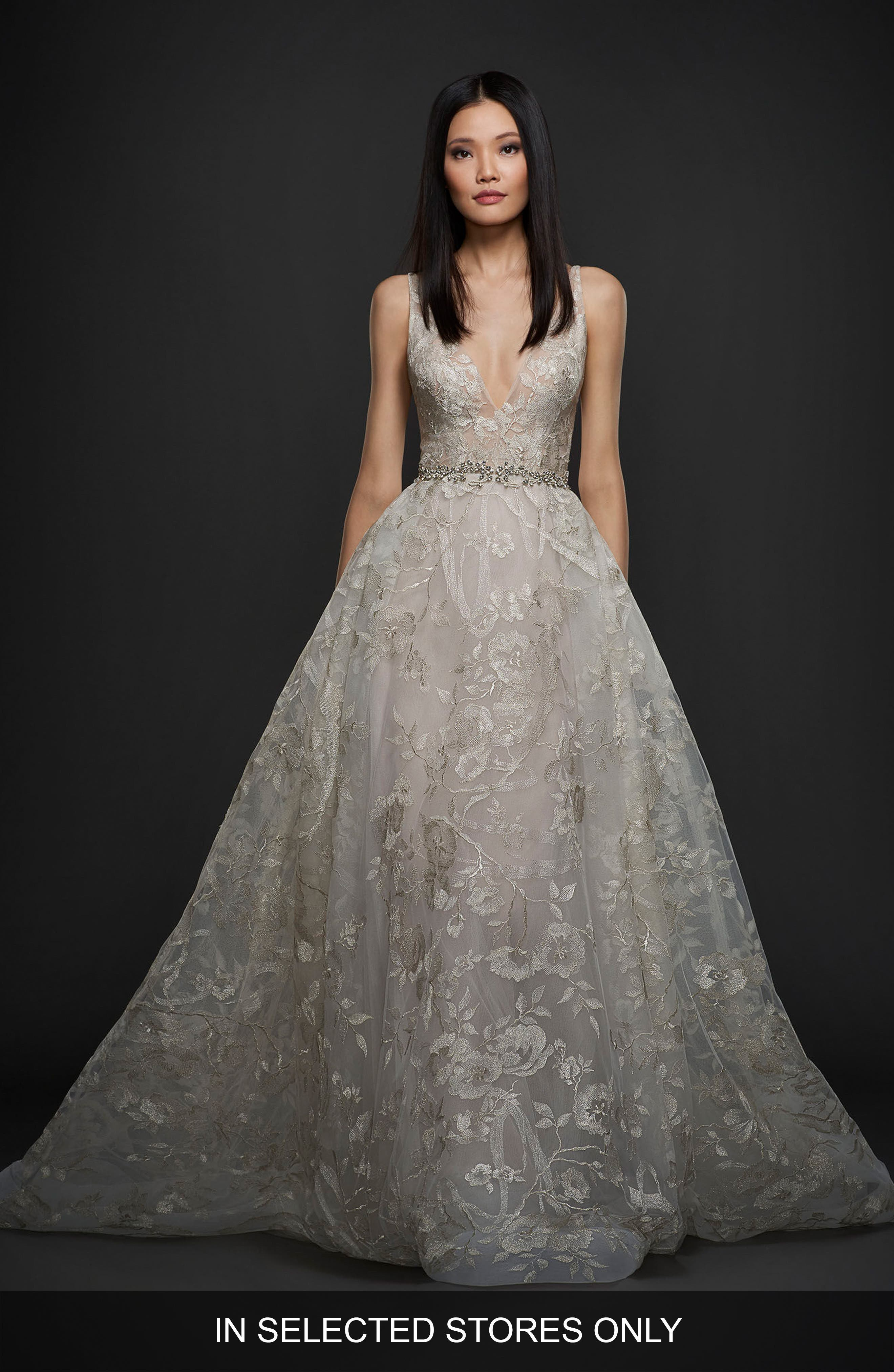 Floral Embroidered Tulle & Chiffon Gown,                             Main thumbnail 1, color,                             Platinum