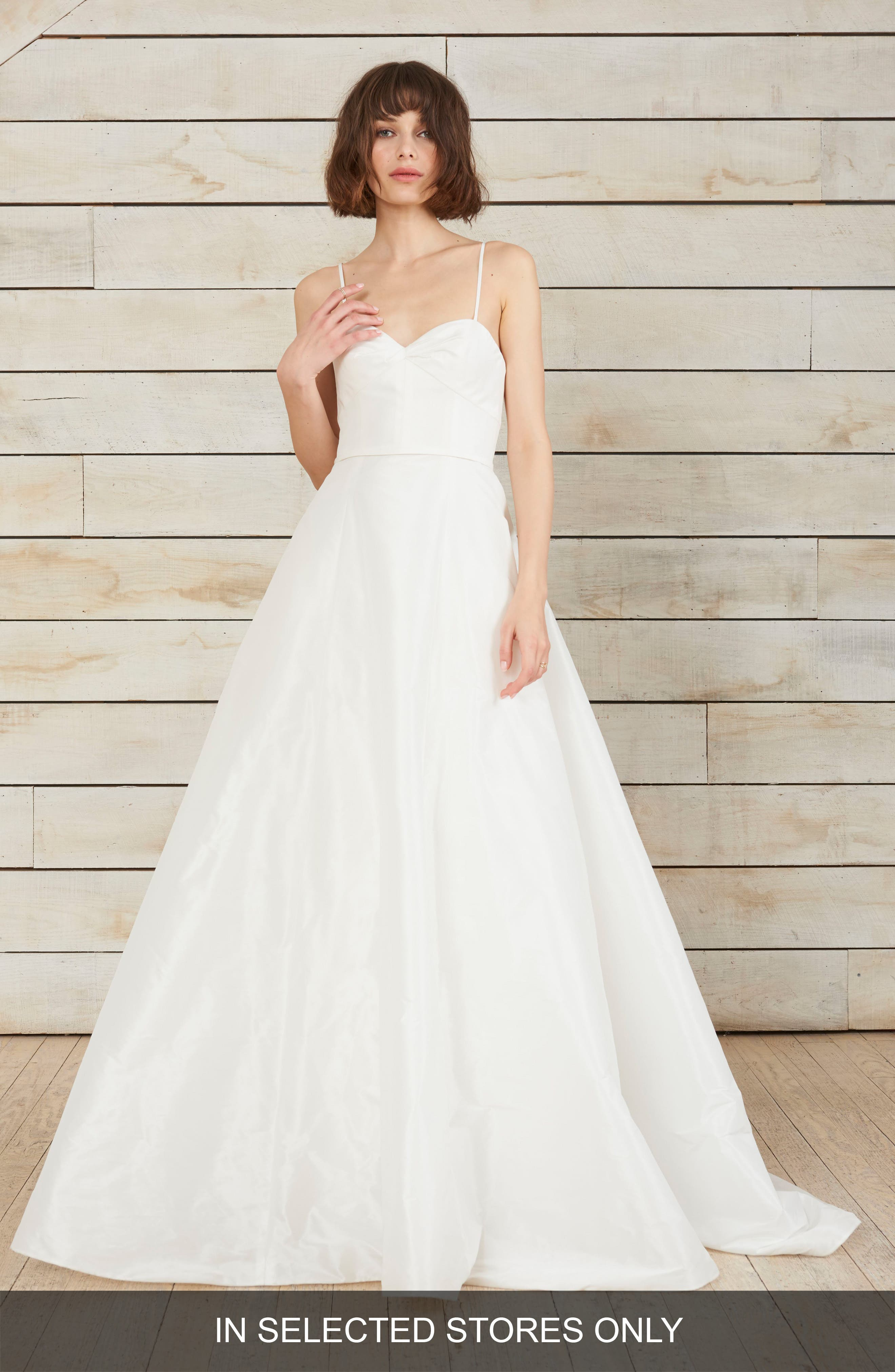 Farrah Taffeta A-Line Ballgown,                         Main,                         color, Silk White