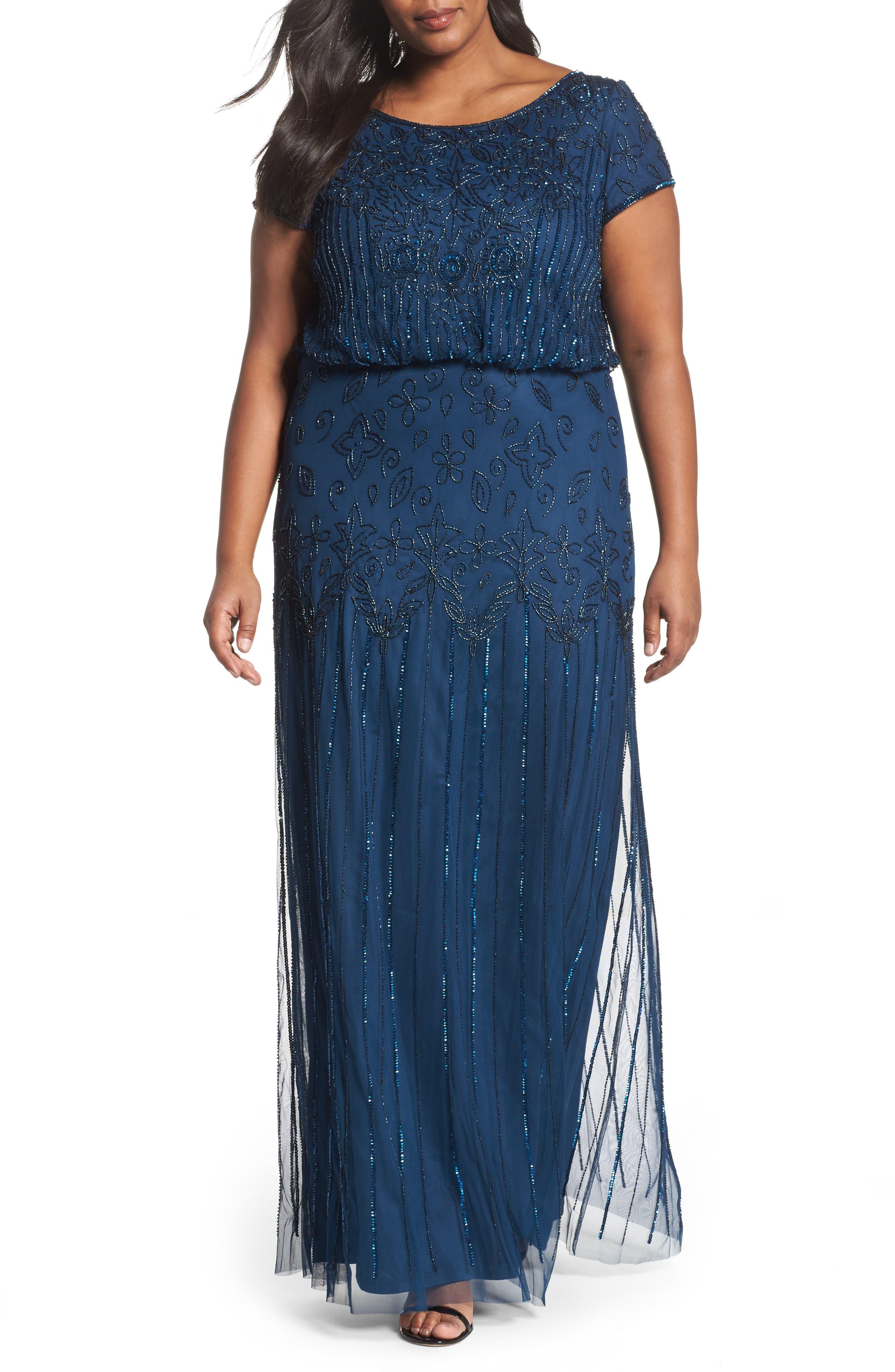 Beaded Blouson Gown,                         Main,                         color, Deep Blue