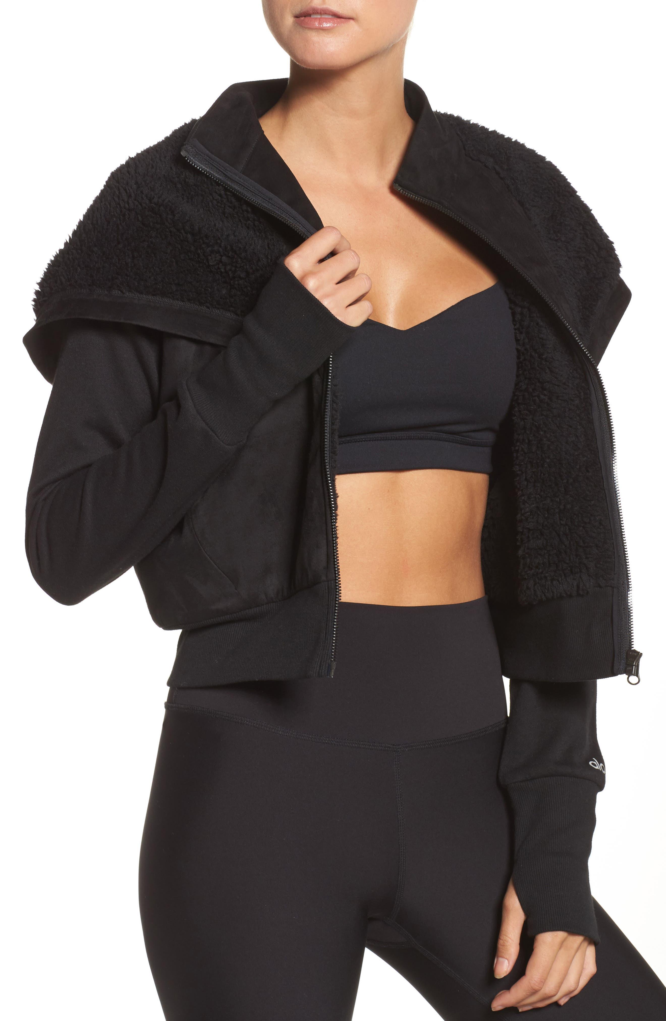 LA Winter Faux Fur Lined Jacket,                             Alternate thumbnail 4, color,                             Black