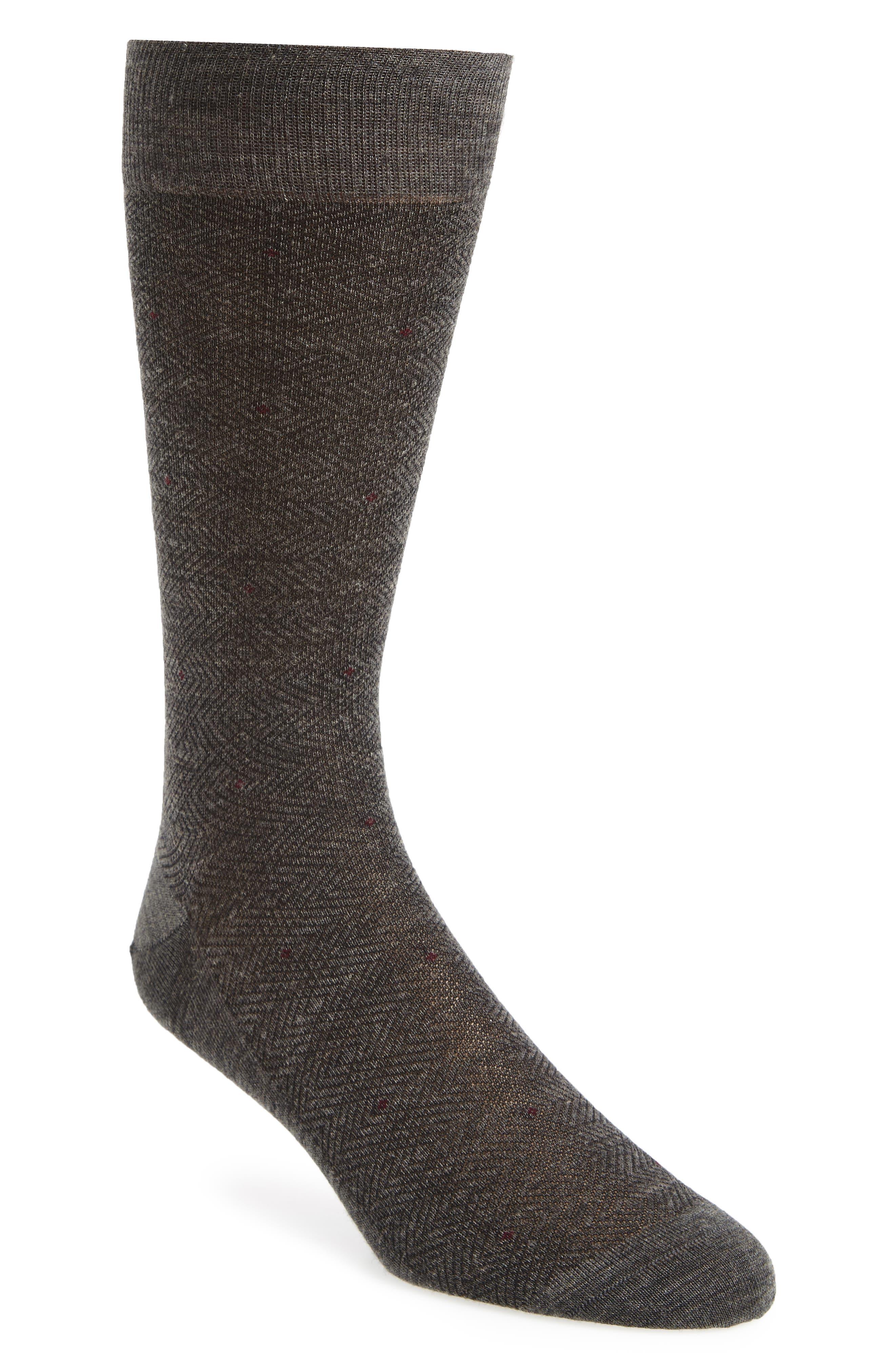 Merino Wool Blend Socks,                         Main,                         color, Mid Grey Mix