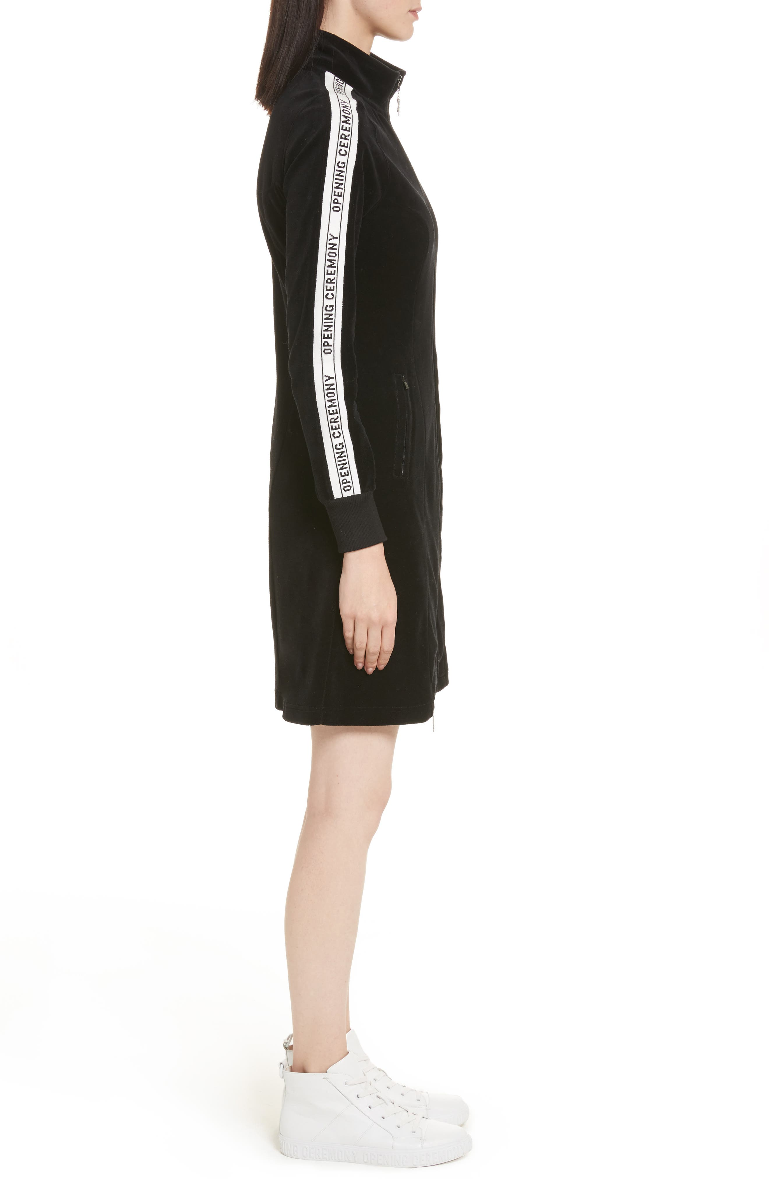 Velour Track Dress,                             Alternate thumbnail 3, color,                             Black