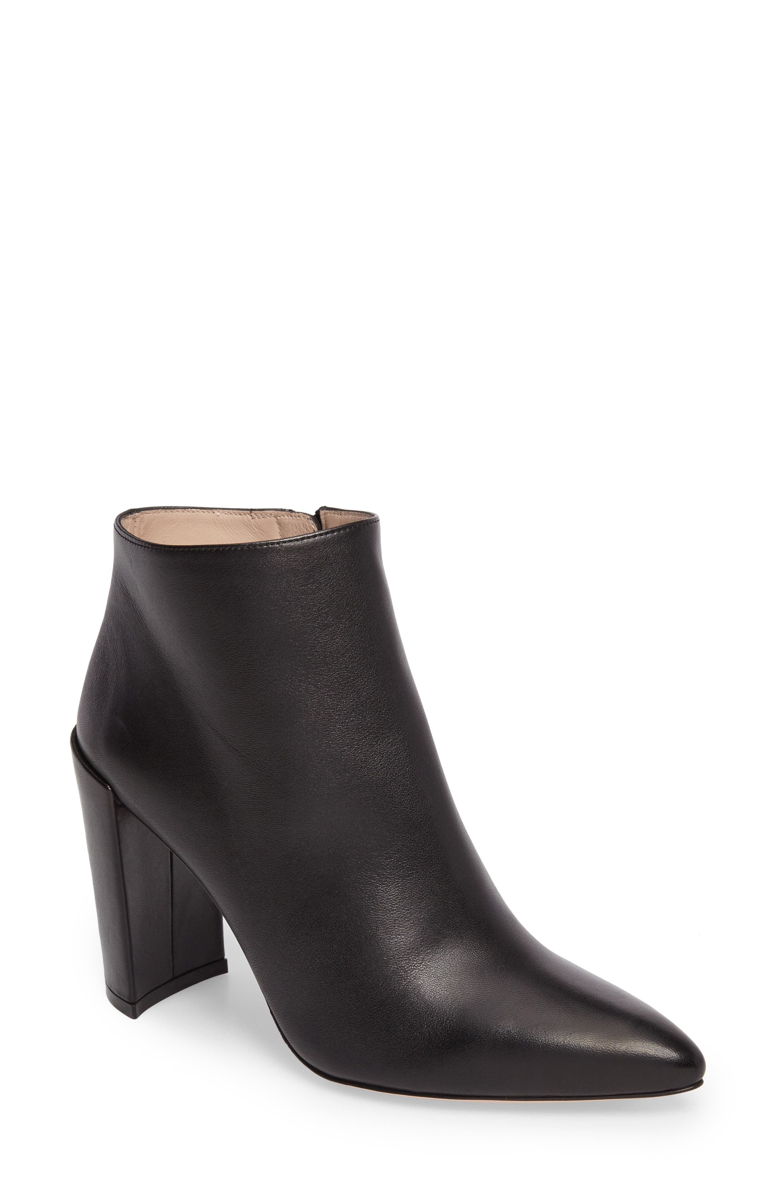 Pure Pointy Toe Bootie,                             Main thumbnail 1, color,                             Black Nappa