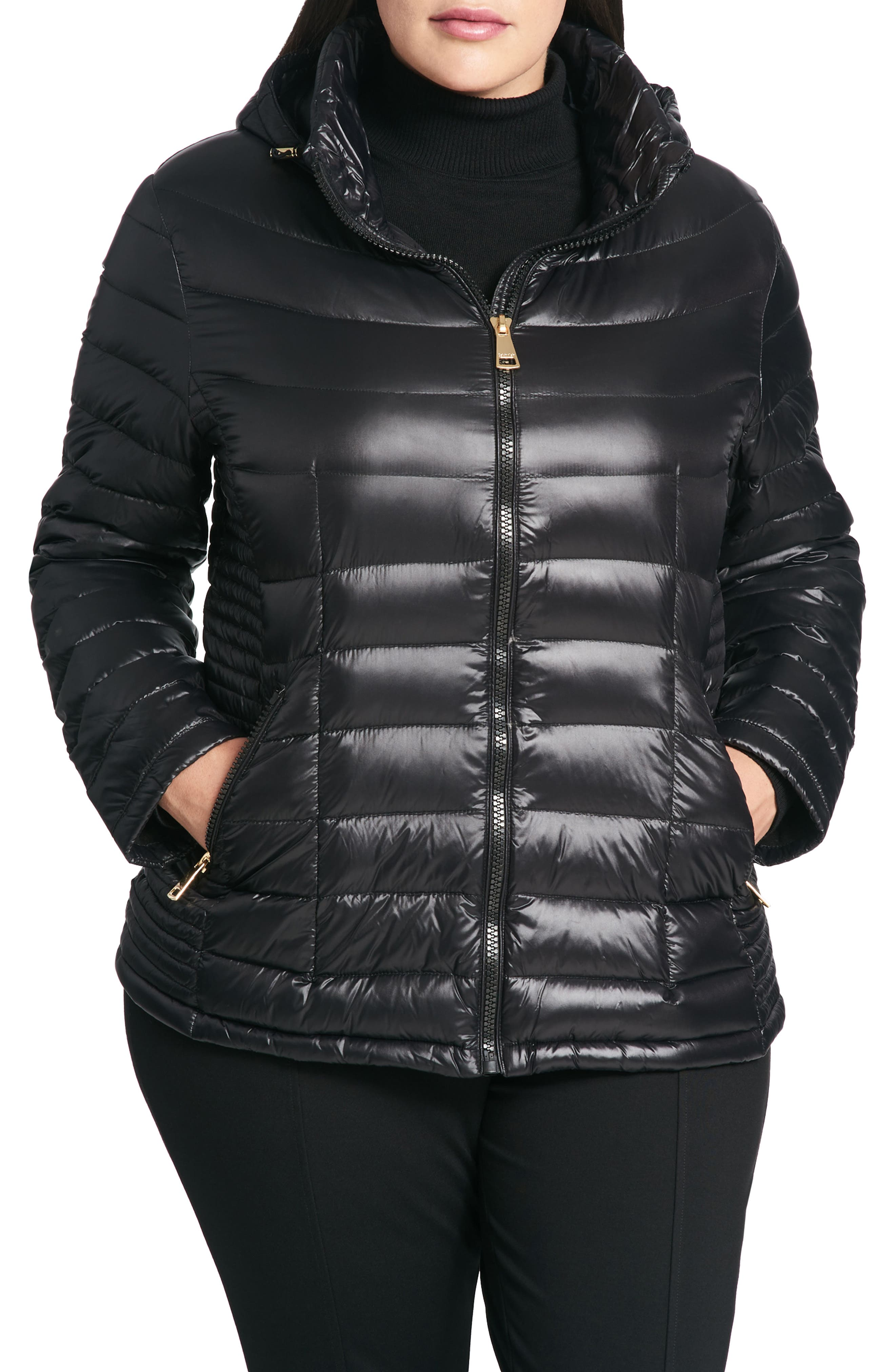 Calvin Klein Packable Hooded Down Jacket (Plus Size)
