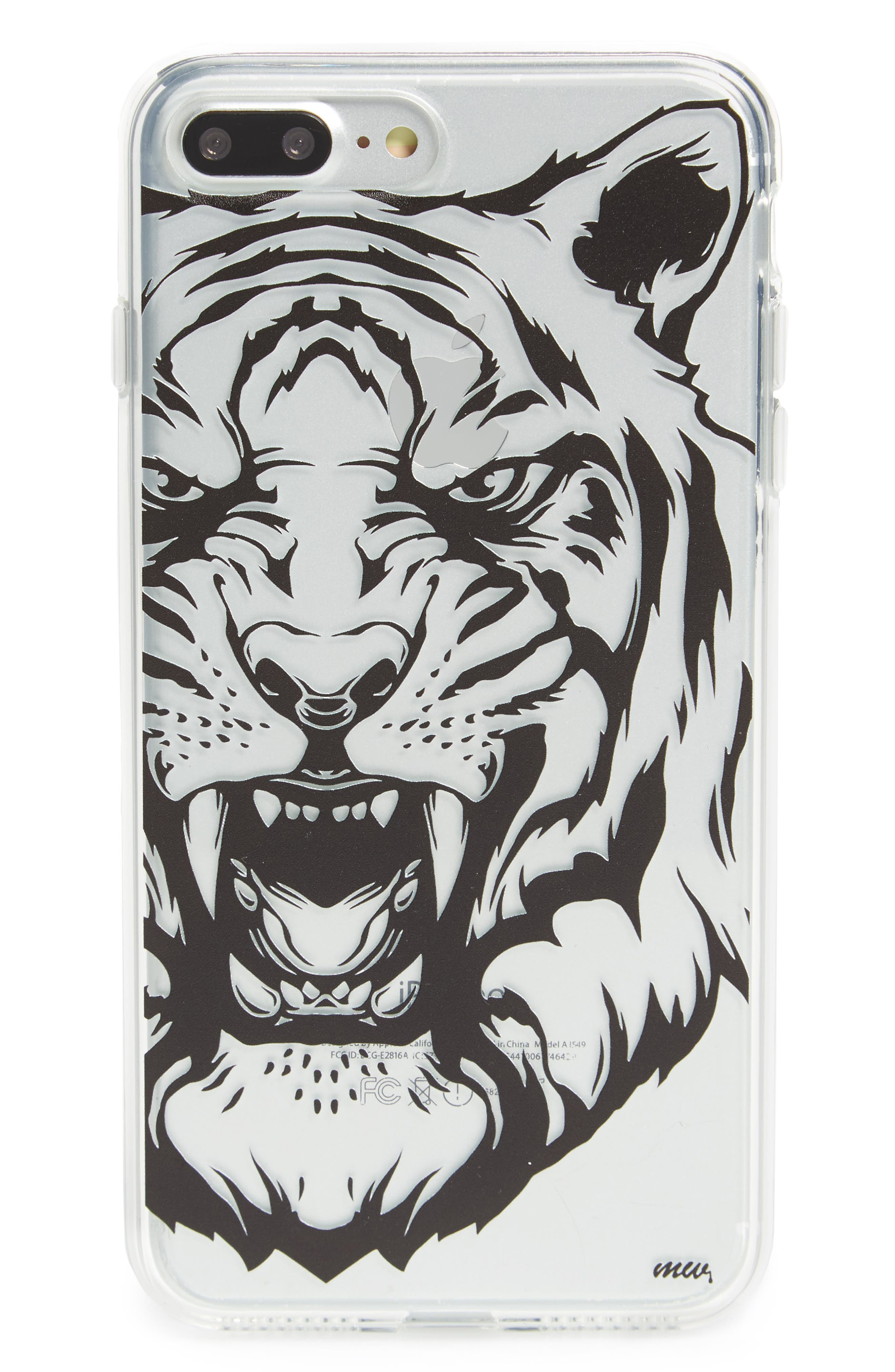 Tiger iPhone 7/7s Case,                         Main,                         color, Clear / Black