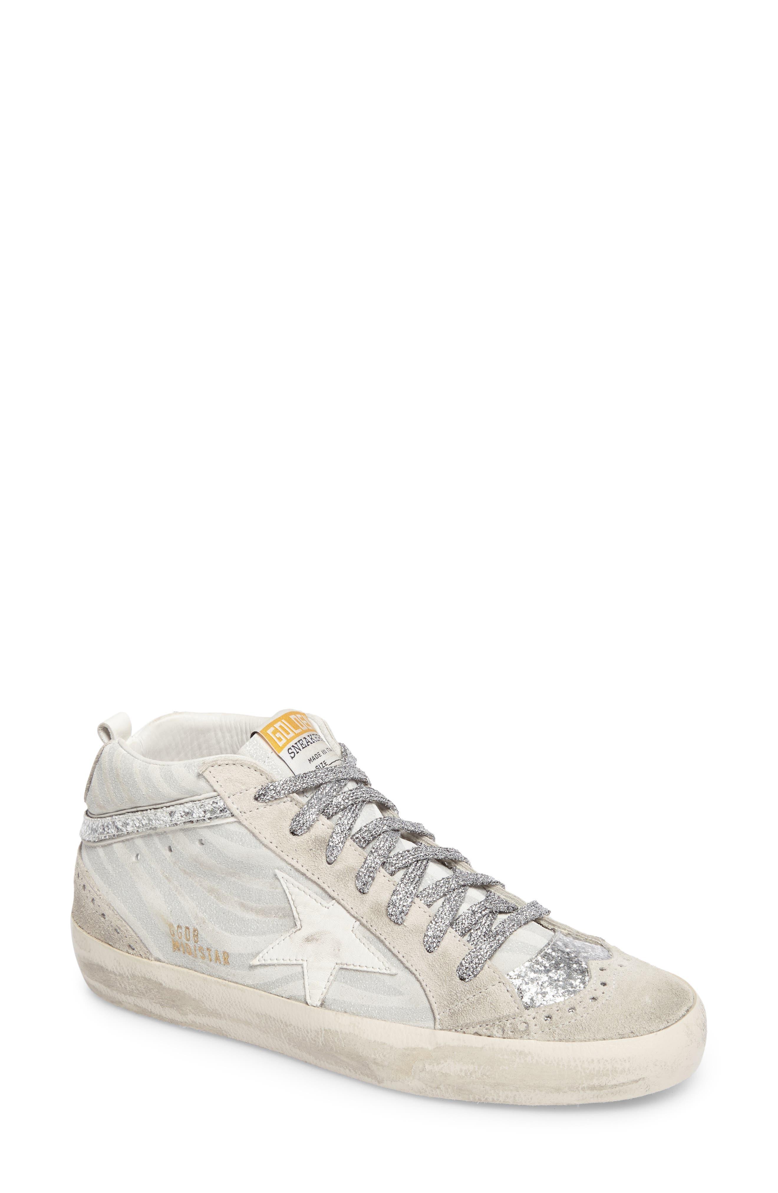 Star Mid Top Sneaker,                         Main,                         color, White Zebra