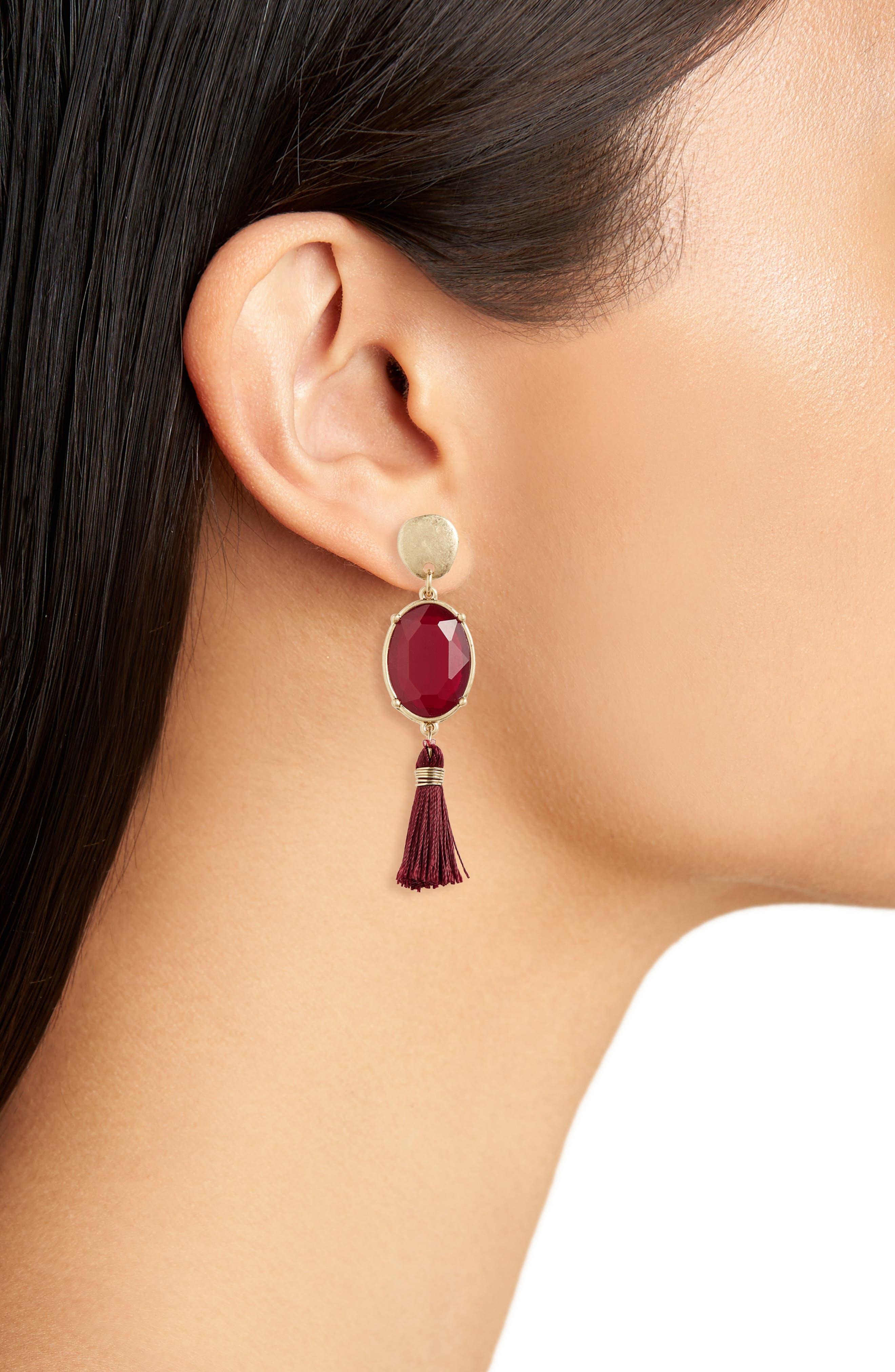 Alternate Image 2  - Canvas Jewelry Crystal Tassel Earrings