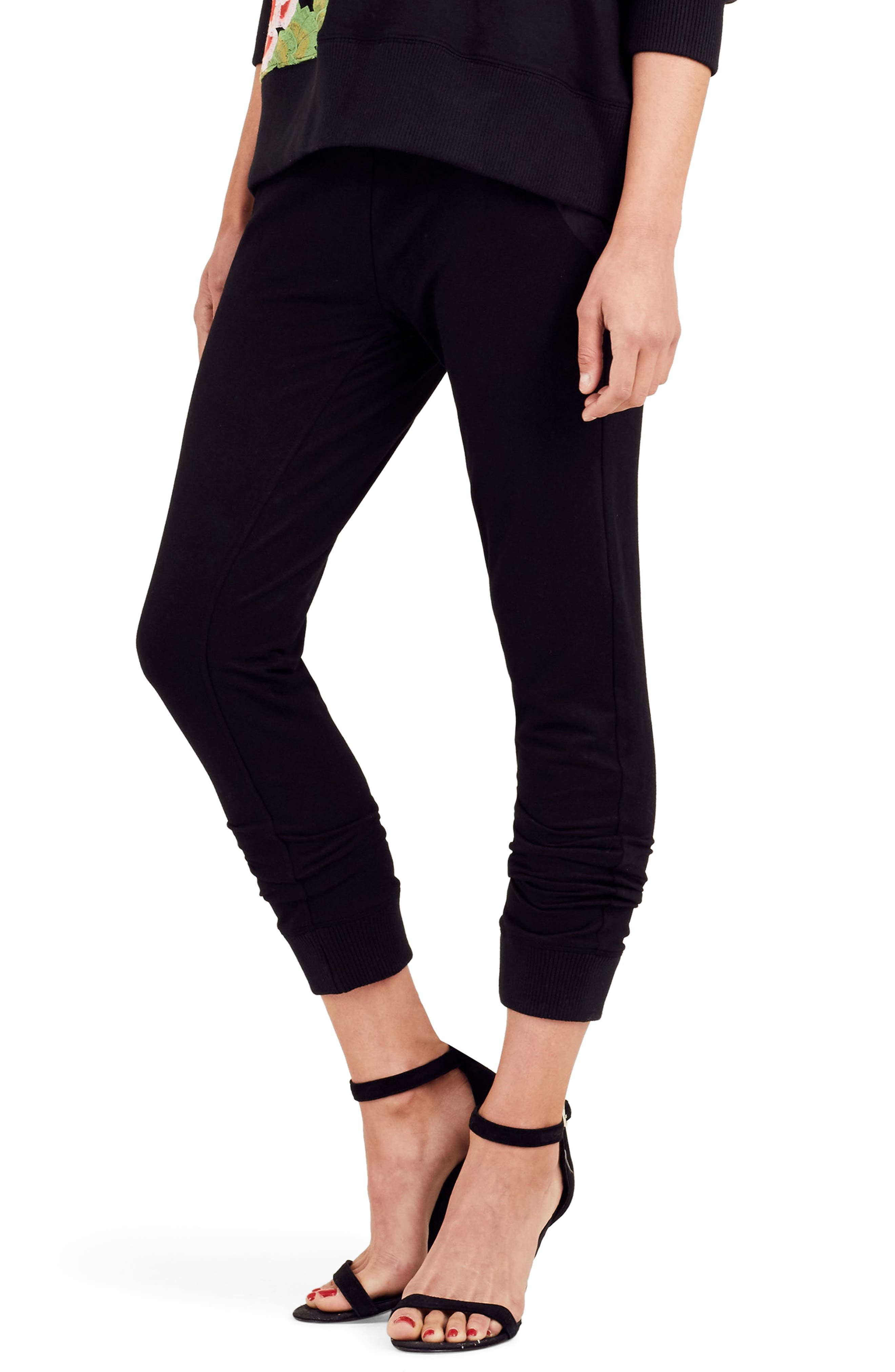 Embroidered Jogger Pants,                         Main,                         color, Black