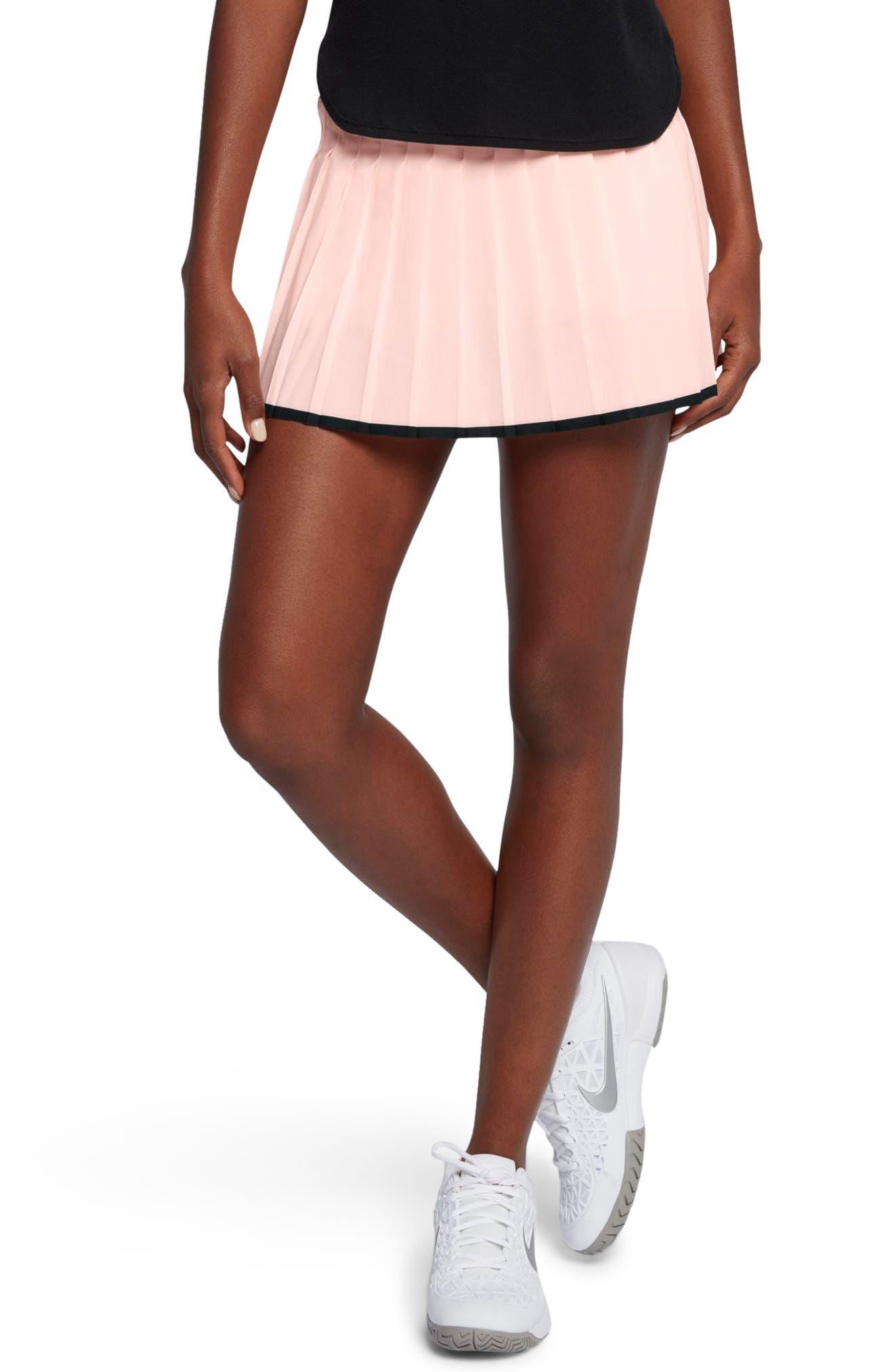 Women's Court Victory Tennis Skirt,                         Main,                         color, Sunset Tint/ Black/ Black