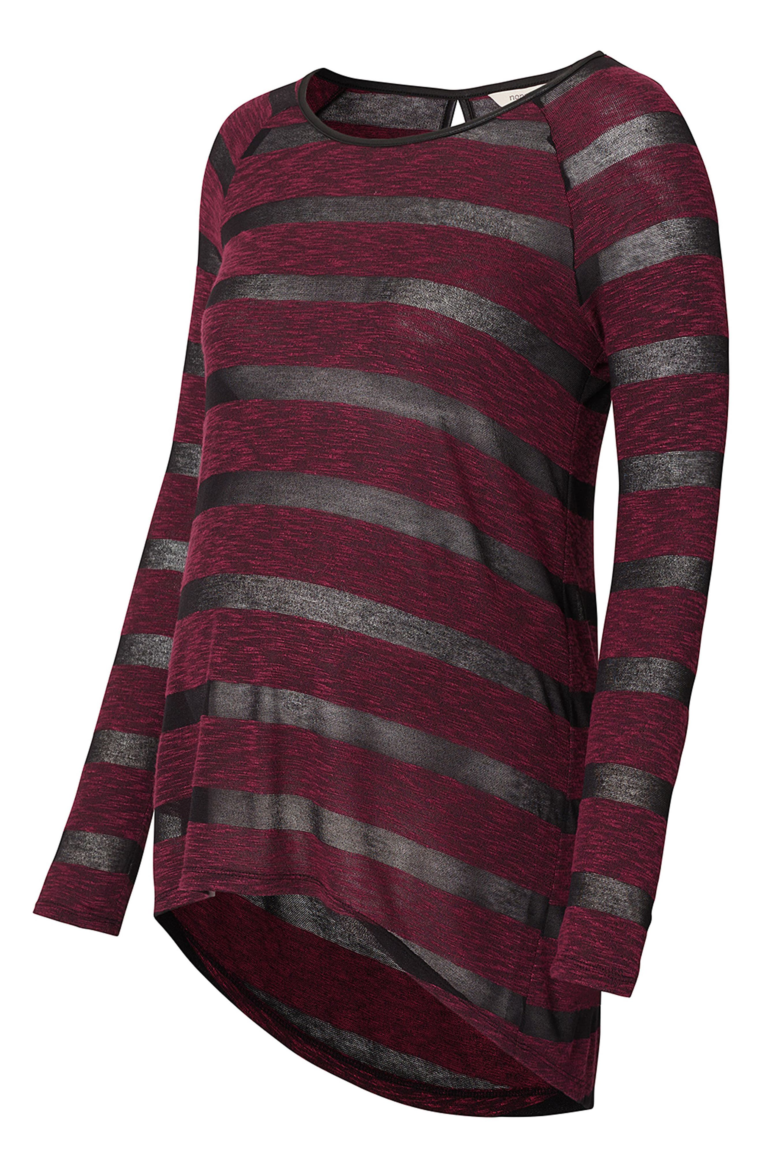 Stripe Maternity Tunic,                             Alternate thumbnail 4, color,                             Wine