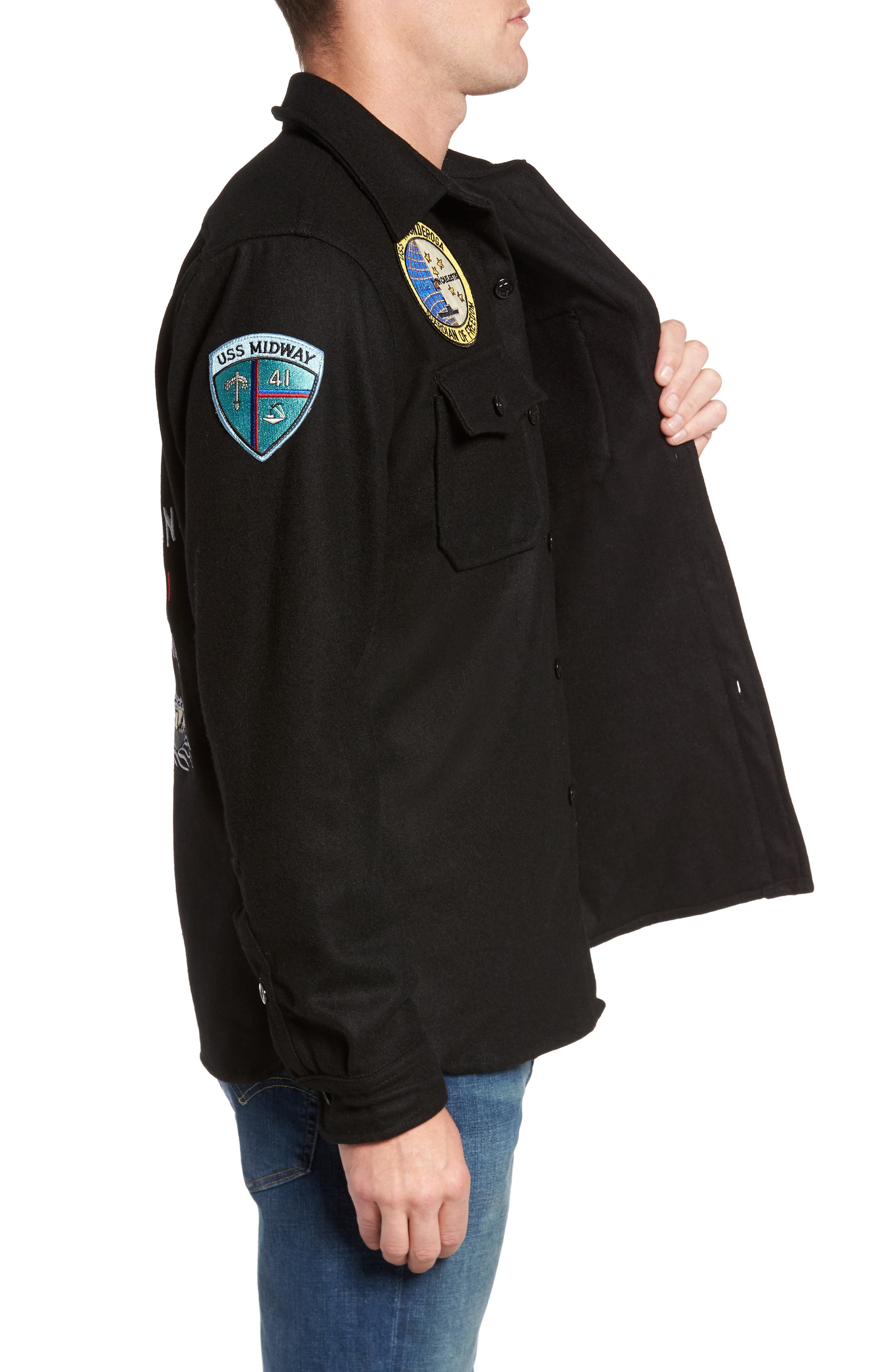 Embroidered Patch Wool Blend Jacket,                             Alternate thumbnail 4, color,                             Black