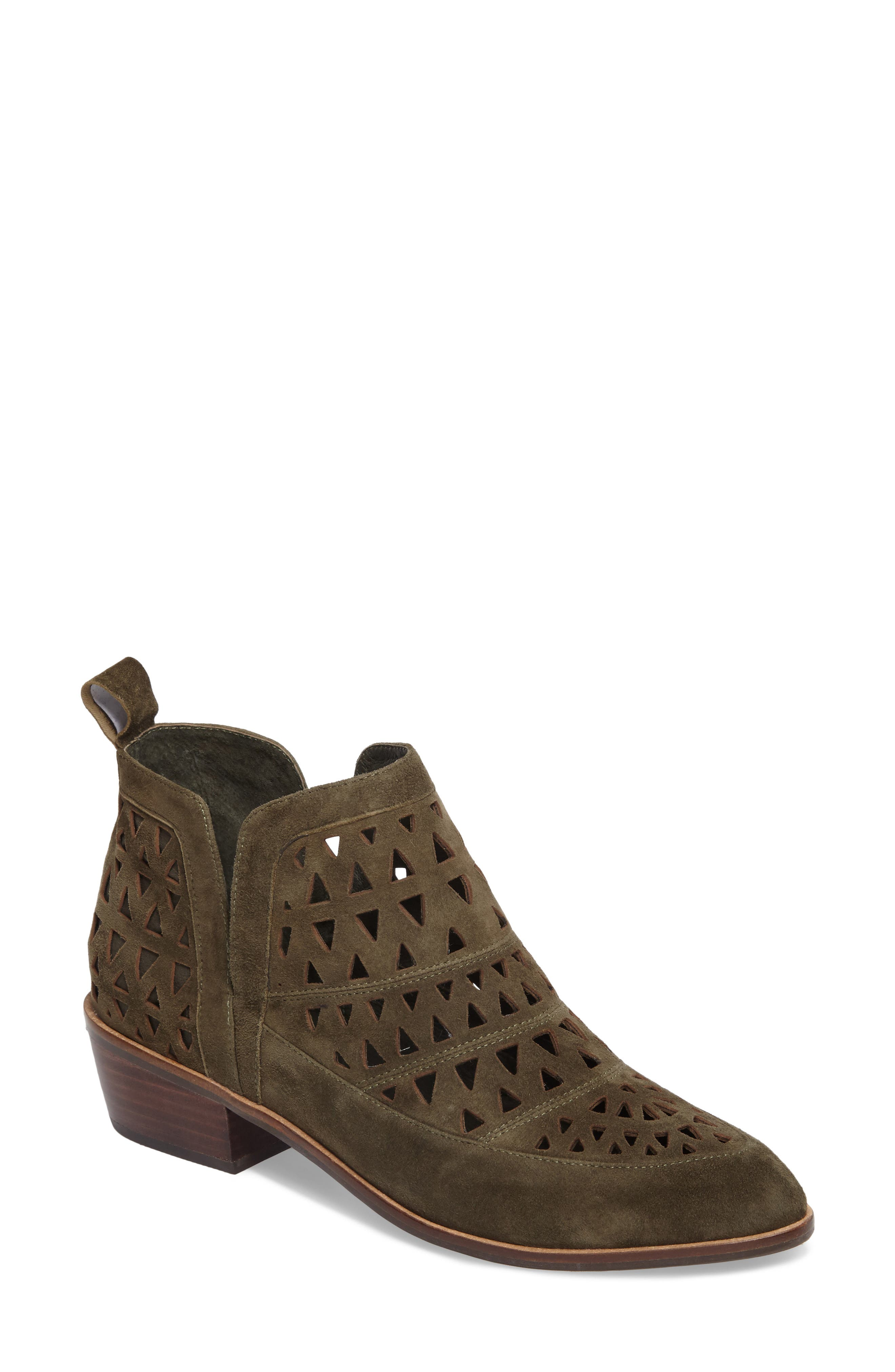 Catherine Cutout Bootie,                         Main,                         color, Olive Suede