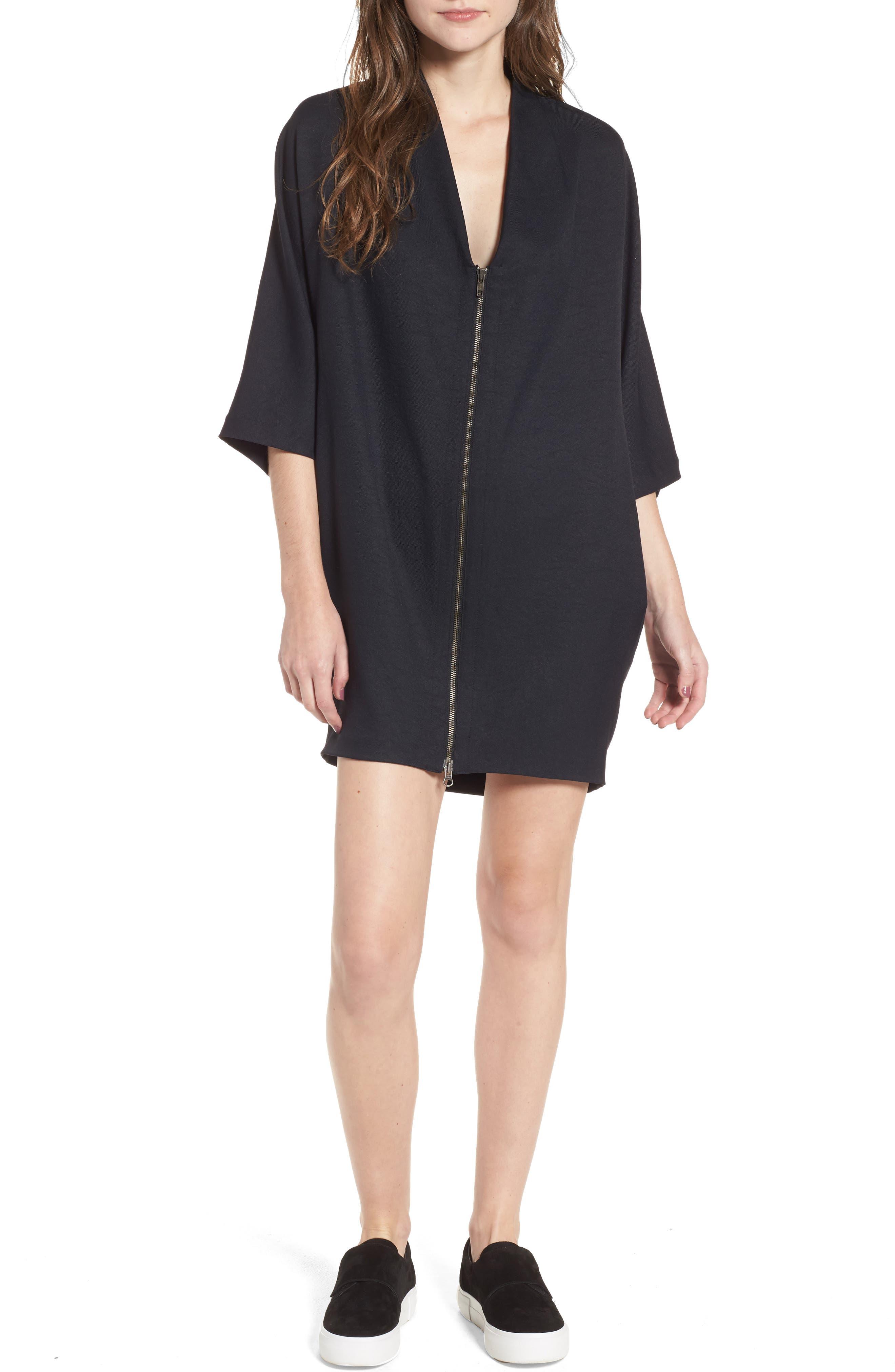 Zip Cocoon Dress,                             Main thumbnail 1, color,                             Black