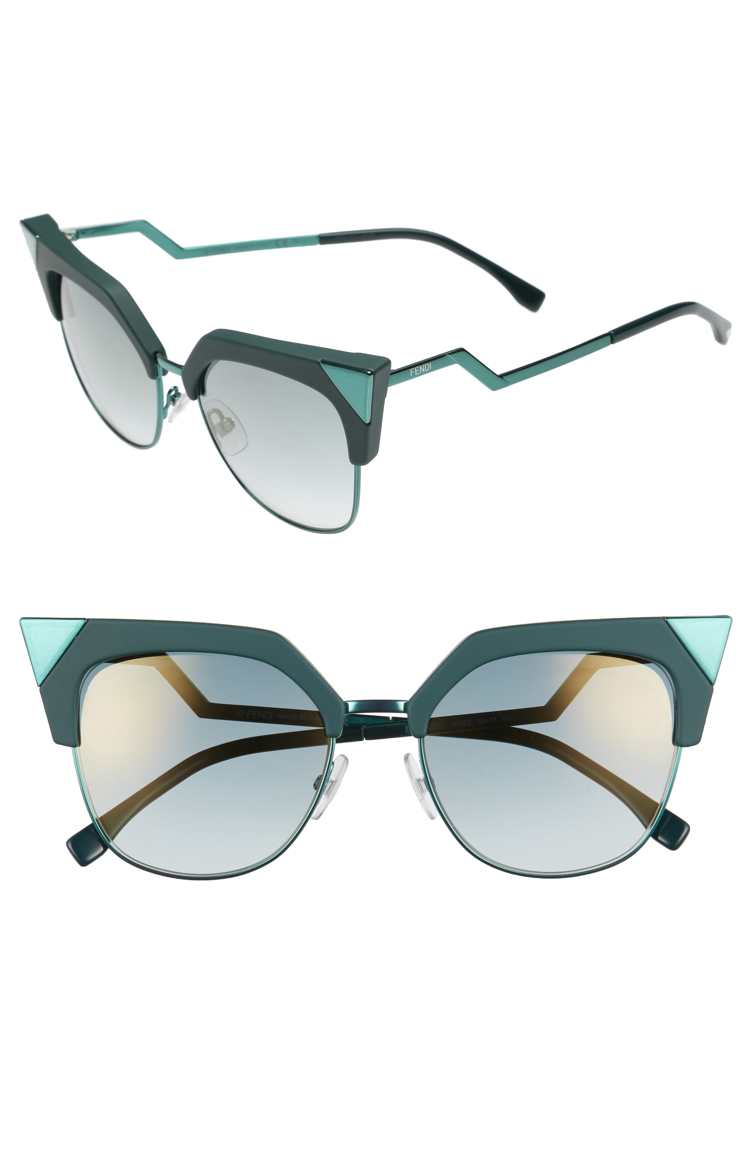 54mm Metal Tipped Cat Eye Sunglasses,                         Main,                         color, Green