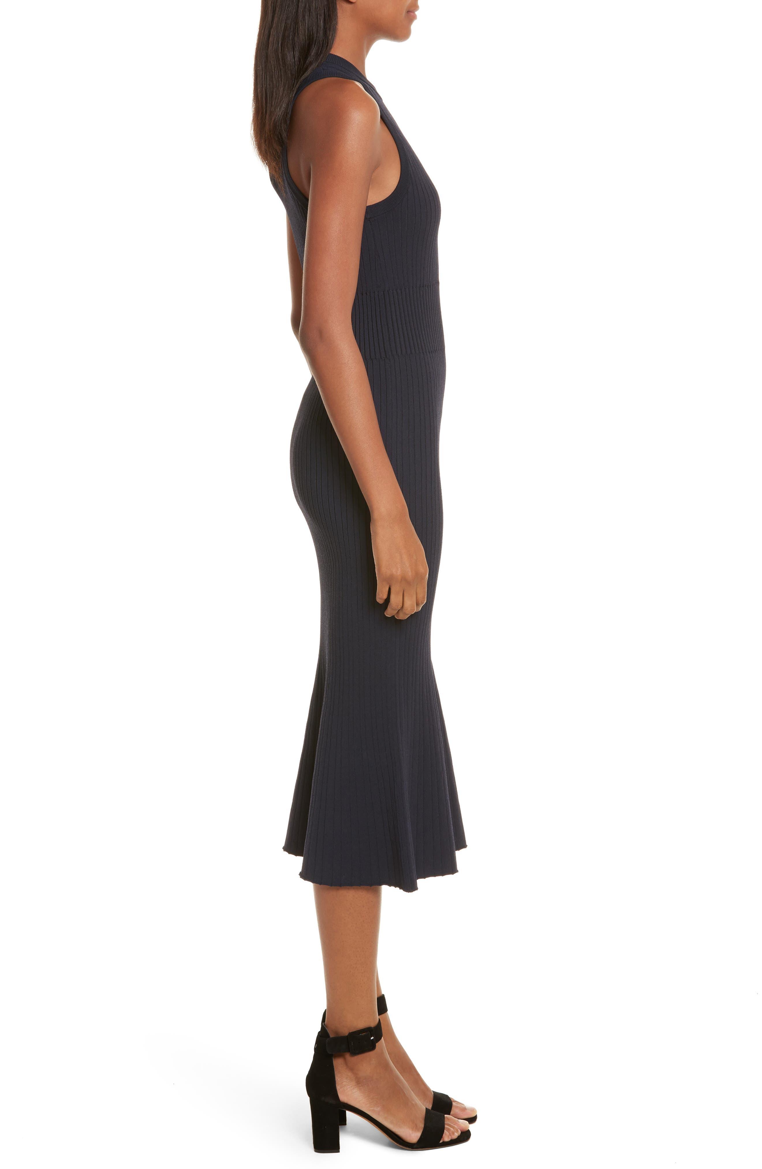 Rib Knit Midi Dress,                             Alternate thumbnail 3, color,                             Midnight