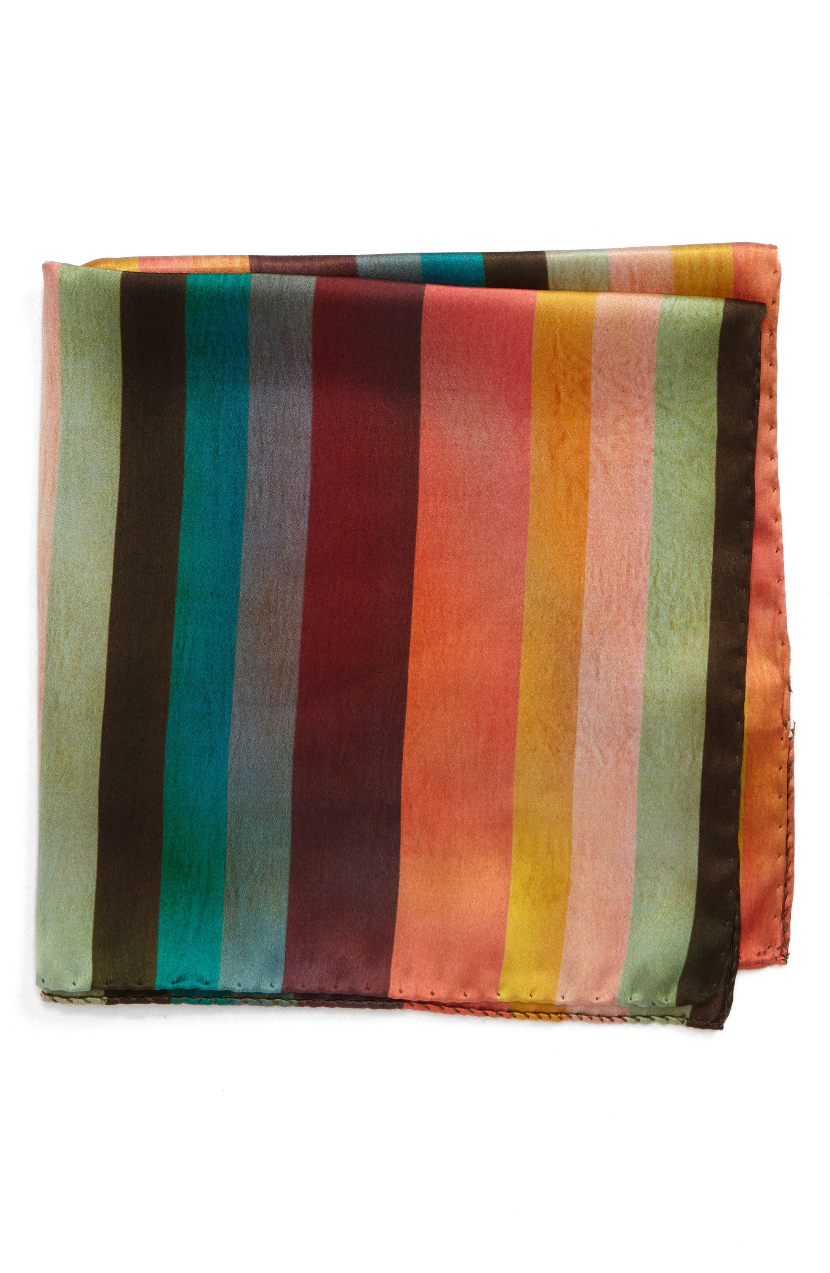 Artist Stripe Silk Pocket Square,                             Main thumbnail 1, color,                             Multi