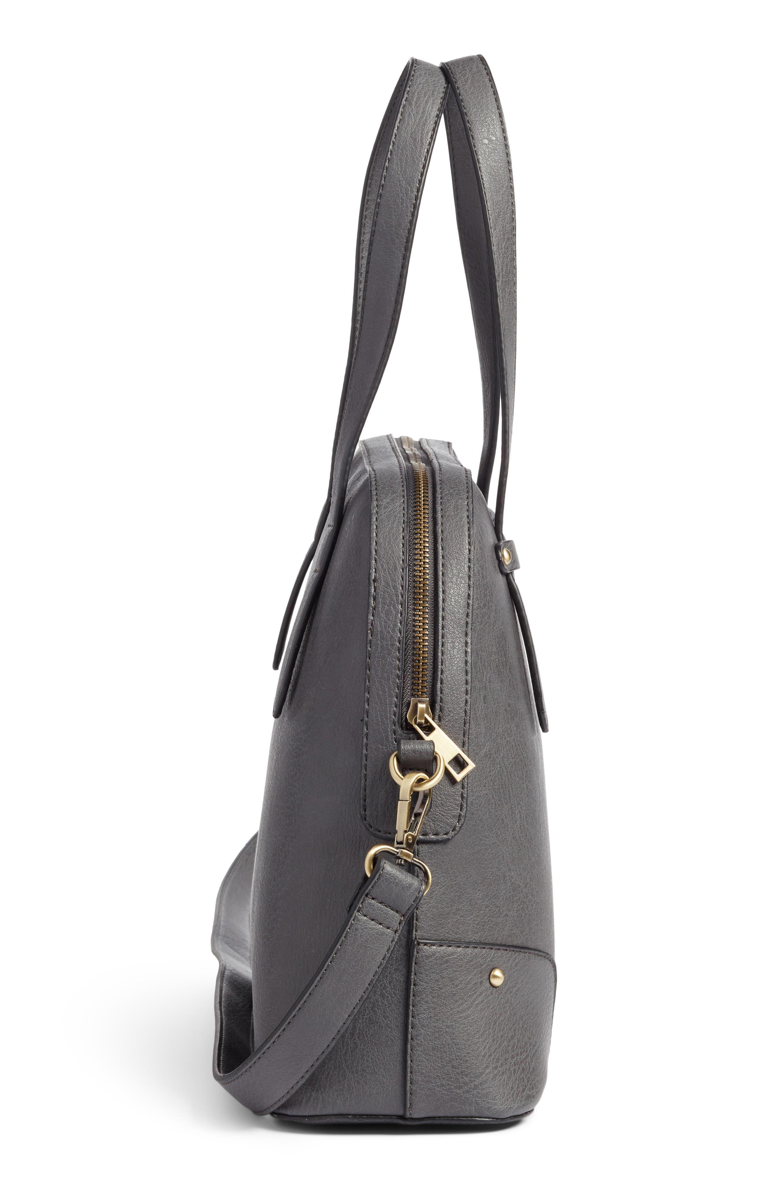 Christie Faux Leather Satchel,                             Alternate thumbnail 3, color,                             Grey