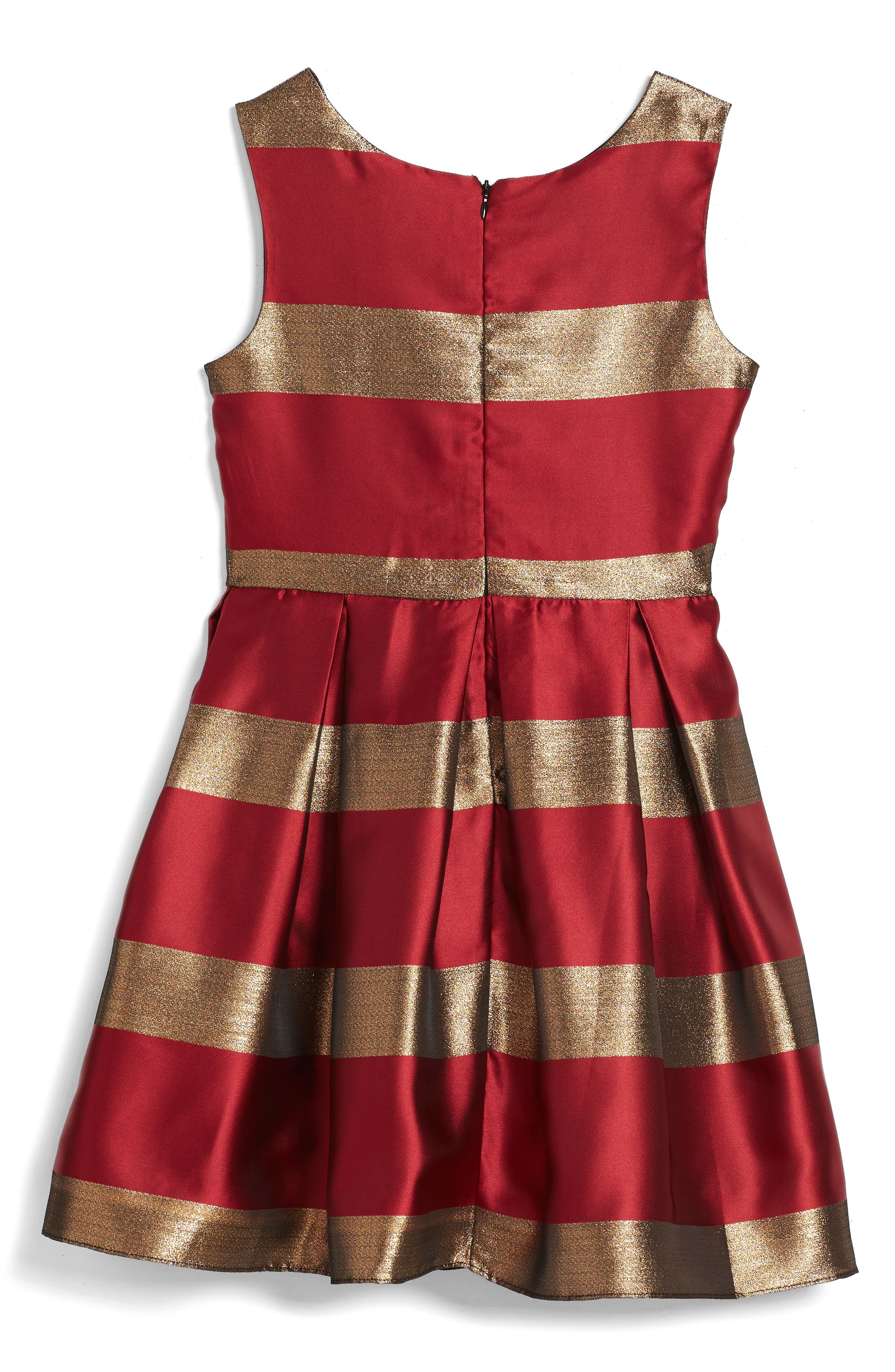 Stripe Fit & Flare Dress,                             Alternate thumbnail 2, color,                             Red/ Gold