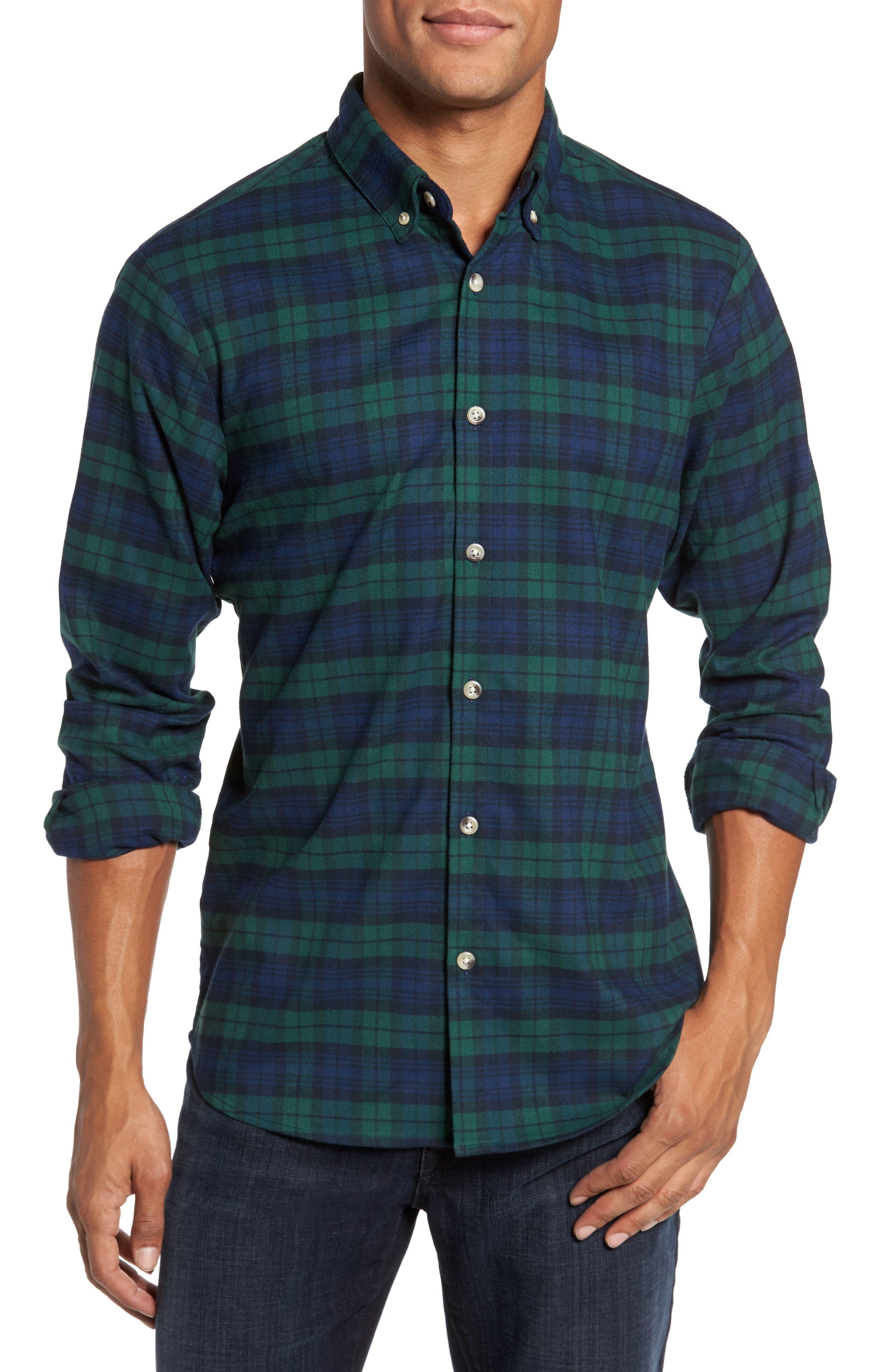 Mizzen+Main Durham Slim Fit Black Watch Flannel Sport Shirt