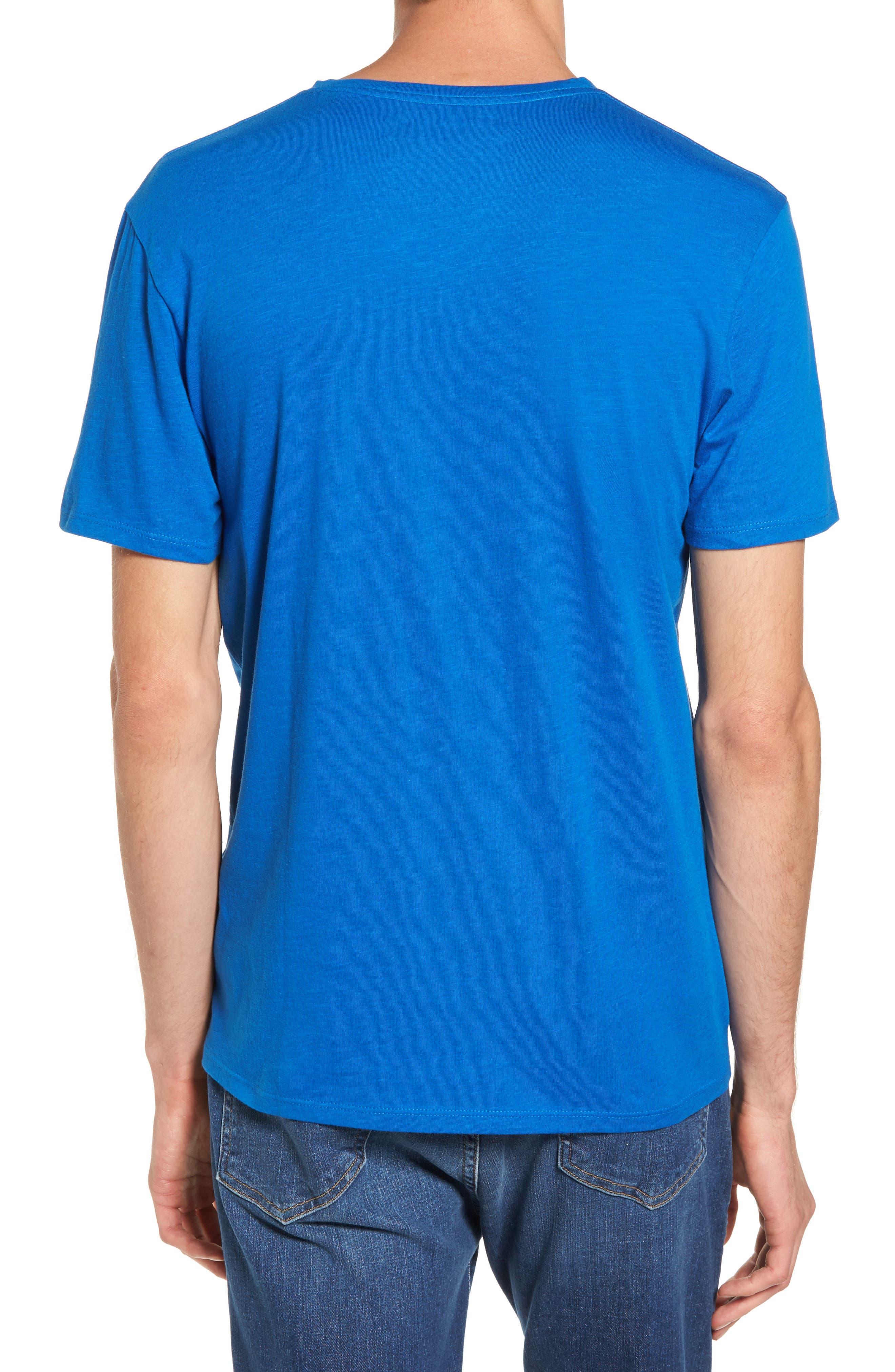 Slub Cotton V-Neck T-Shirt,                             Alternate thumbnail 2, color,                             Blue Racer