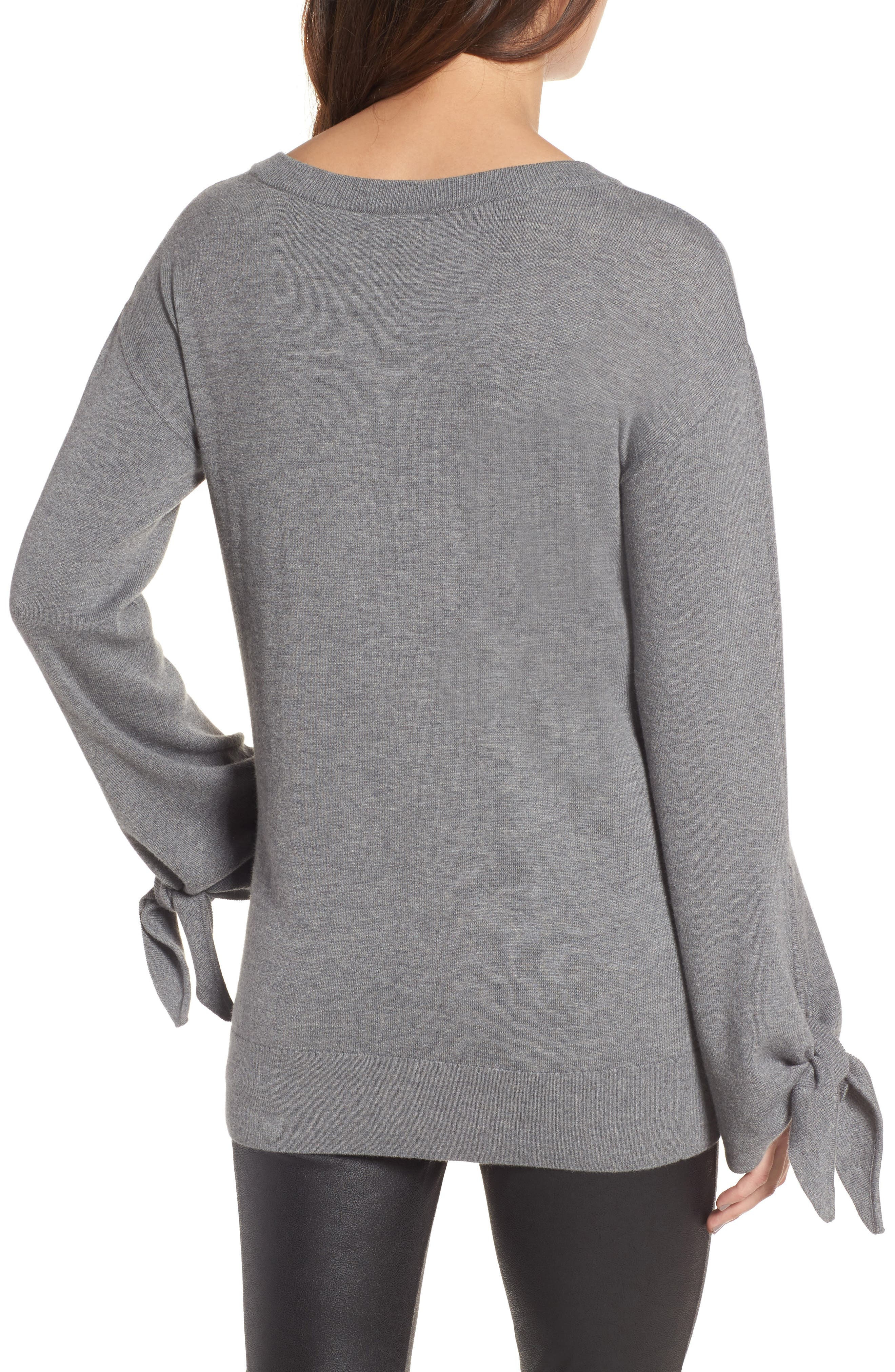 Tie Sleeve Sweater,                             Alternate thumbnail 2, color,                             Grey Dark Heather