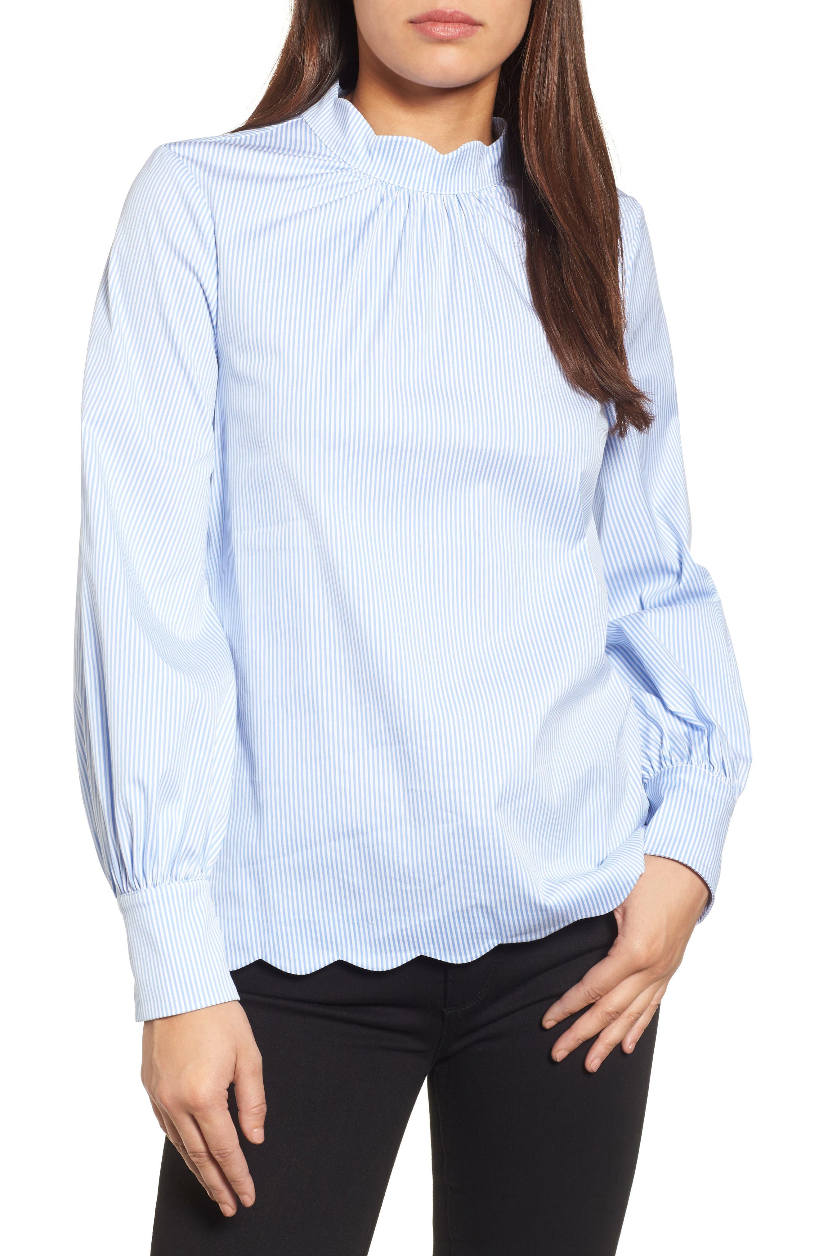 Scallop Trim Poplin Blouse,                         Main,                         color, White- Blue Stripe