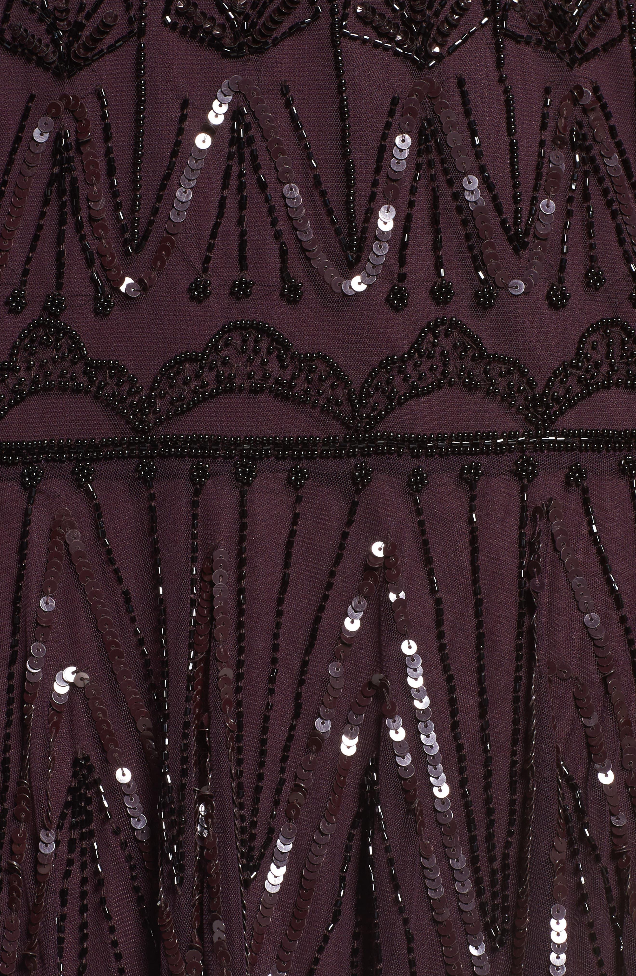 Beaded Flounce Dress,                             Alternate thumbnail 5, color,                             Wine