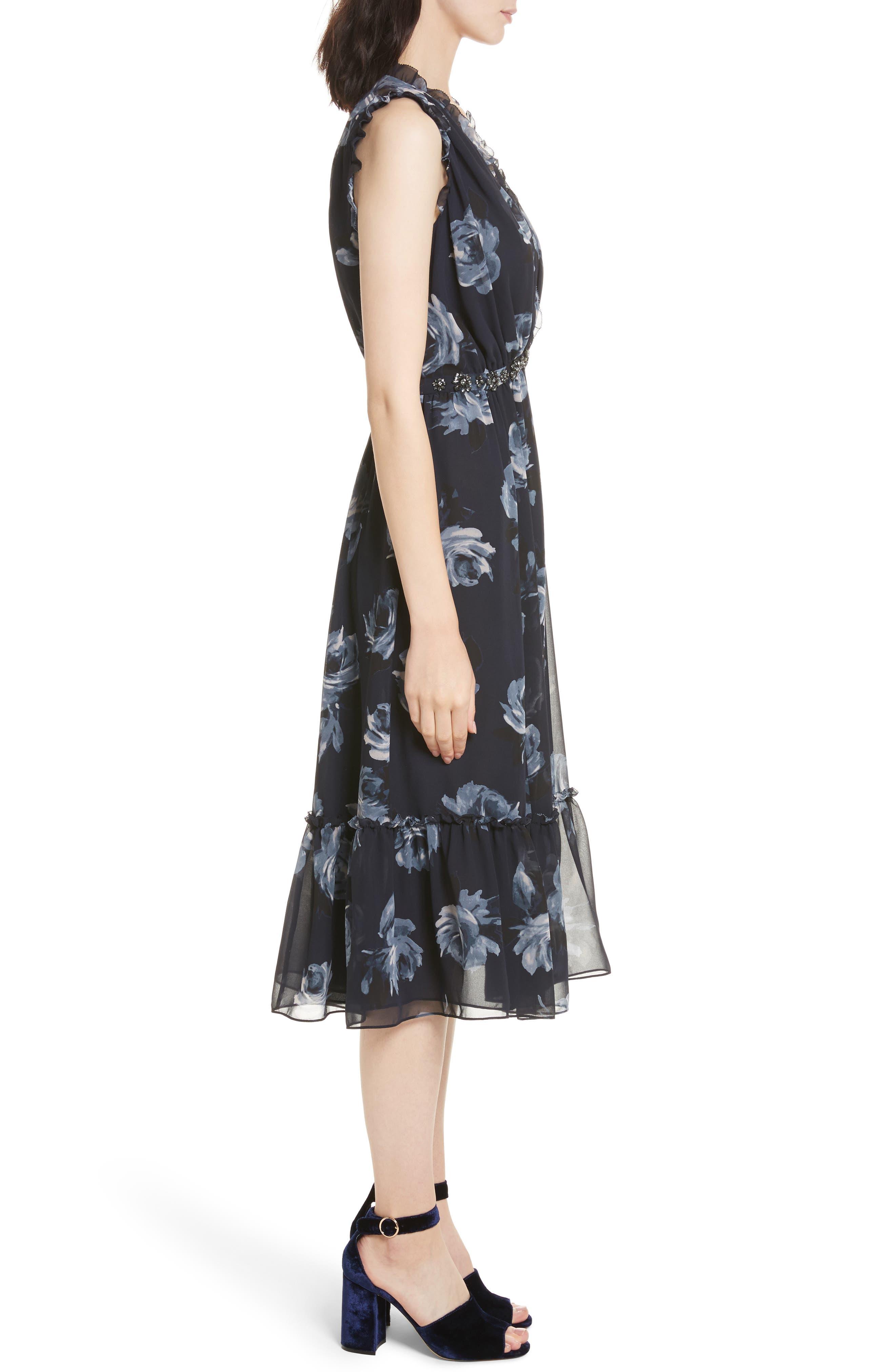 kade spade new york Night Rose Chiffon Midi Dress,                             Alternate thumbnail 3, color,                             Rich Navy